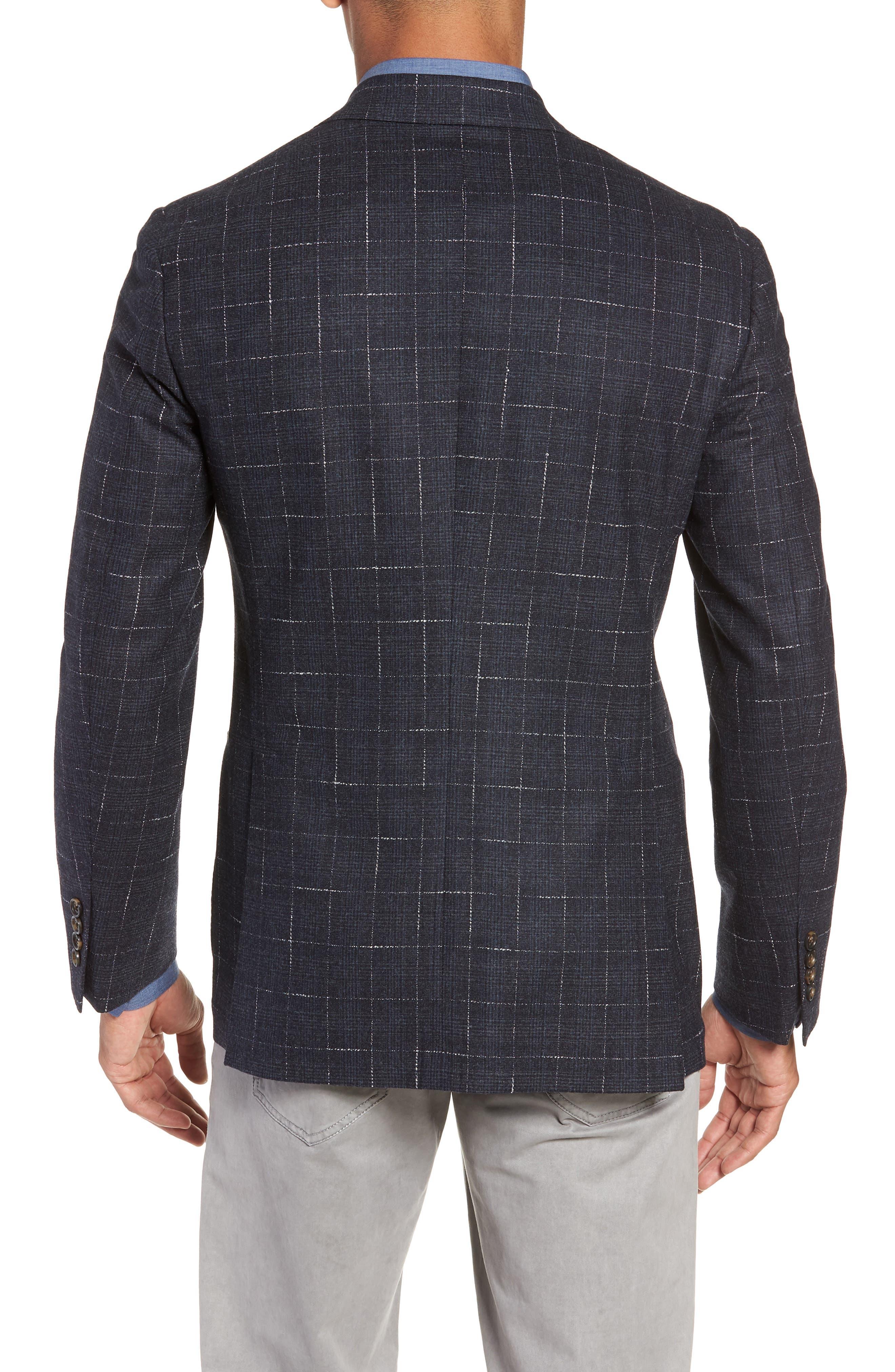 Trim Fit Stretch Plaid Wool Sport Coat,                             Alternate thumbnail 2, color,                             NAVY