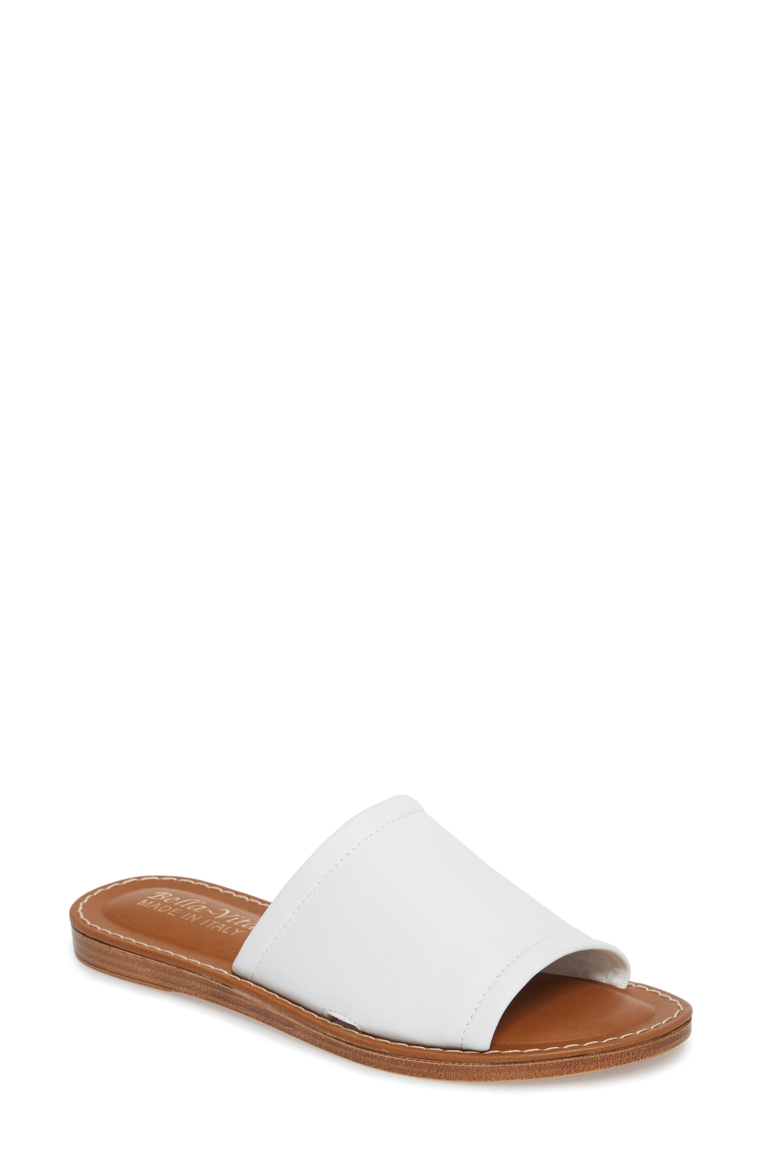 Ros Slide Sandal,                         Main,                         color, WHITE LEATHER