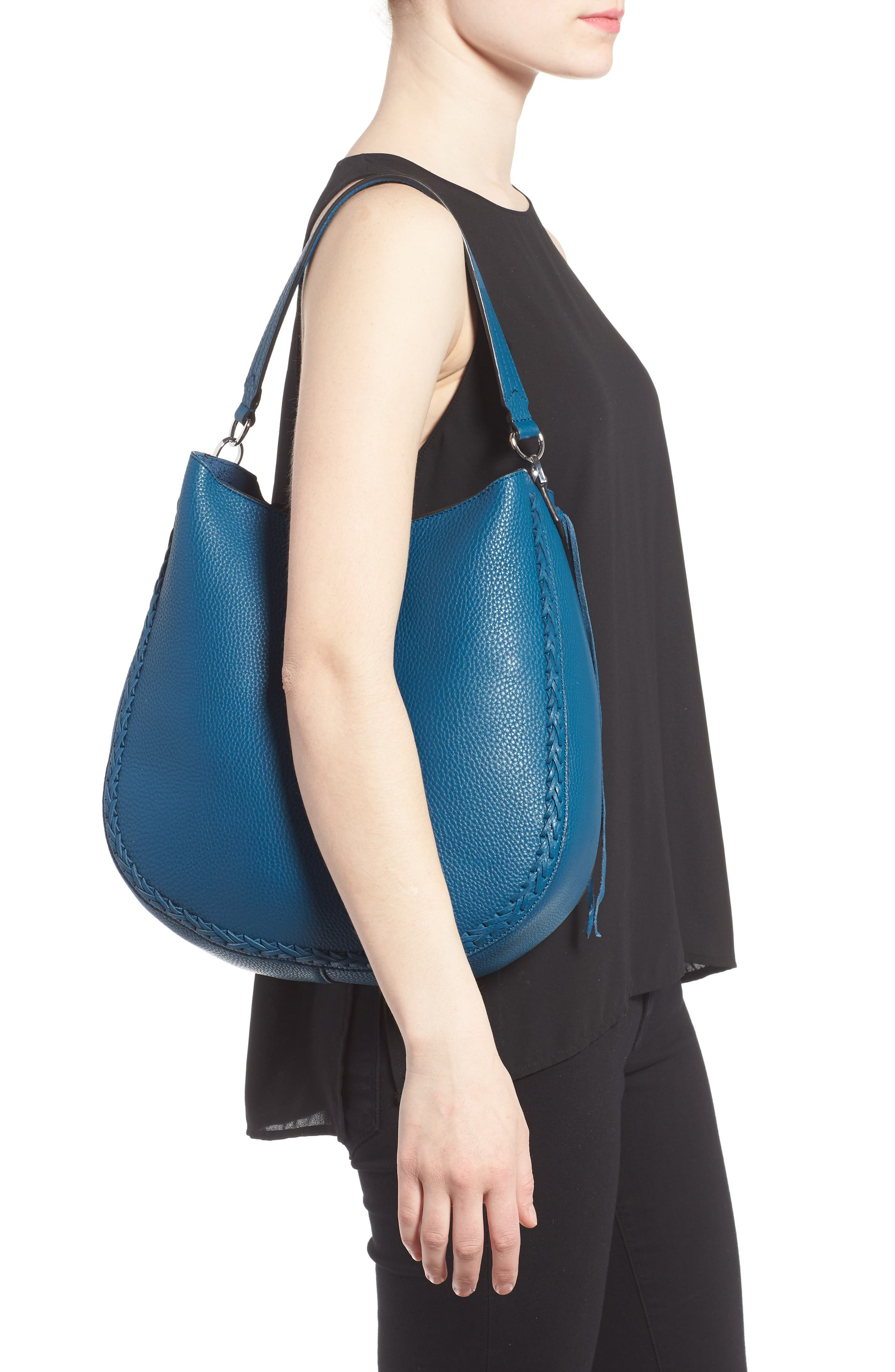 Unlined Convertible Whipstitch Hobo,                             Alternate thumbnail 12, color,