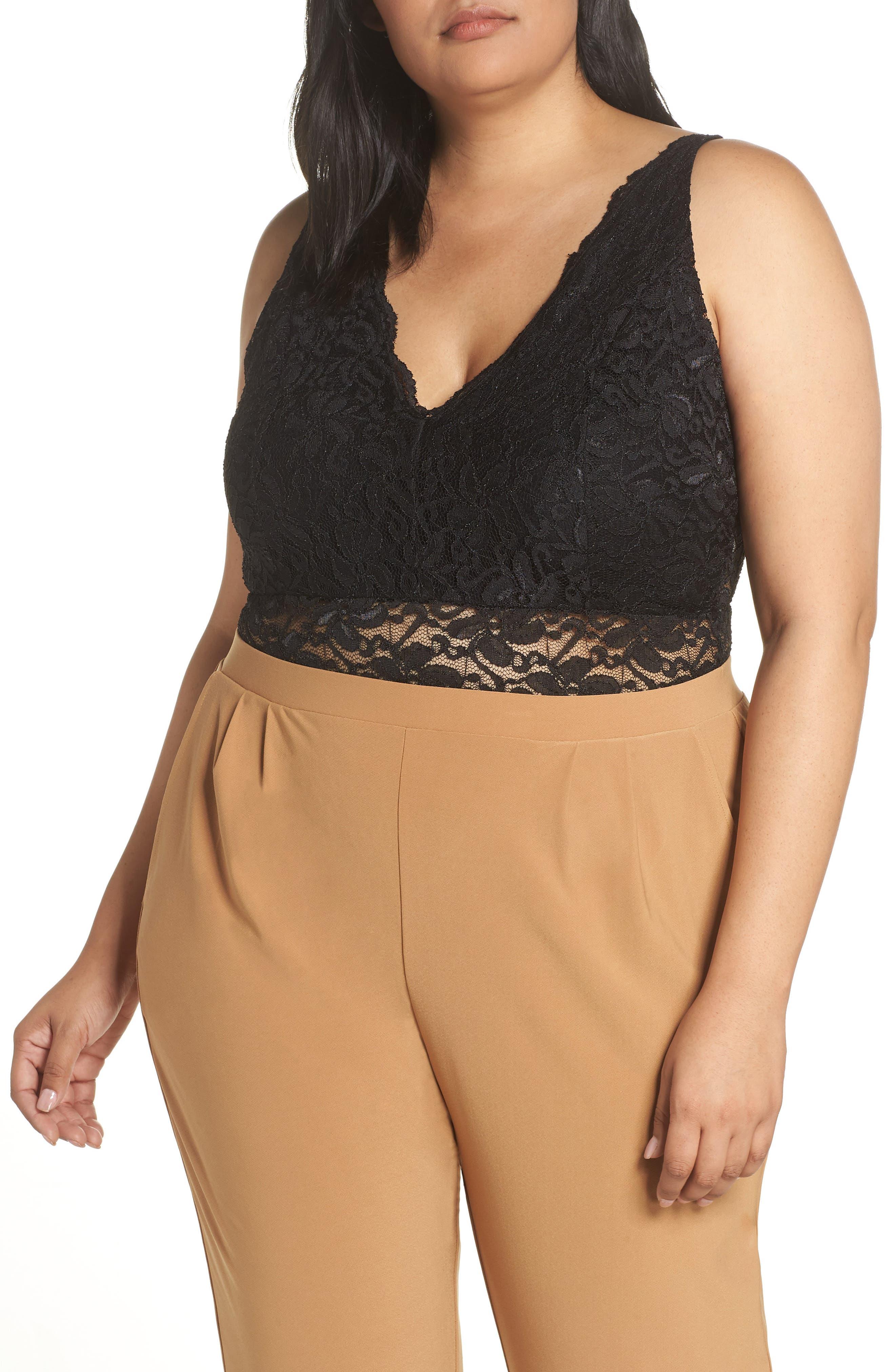 Plunge Lace Bodysuit,                         Main,                         color, BLACK