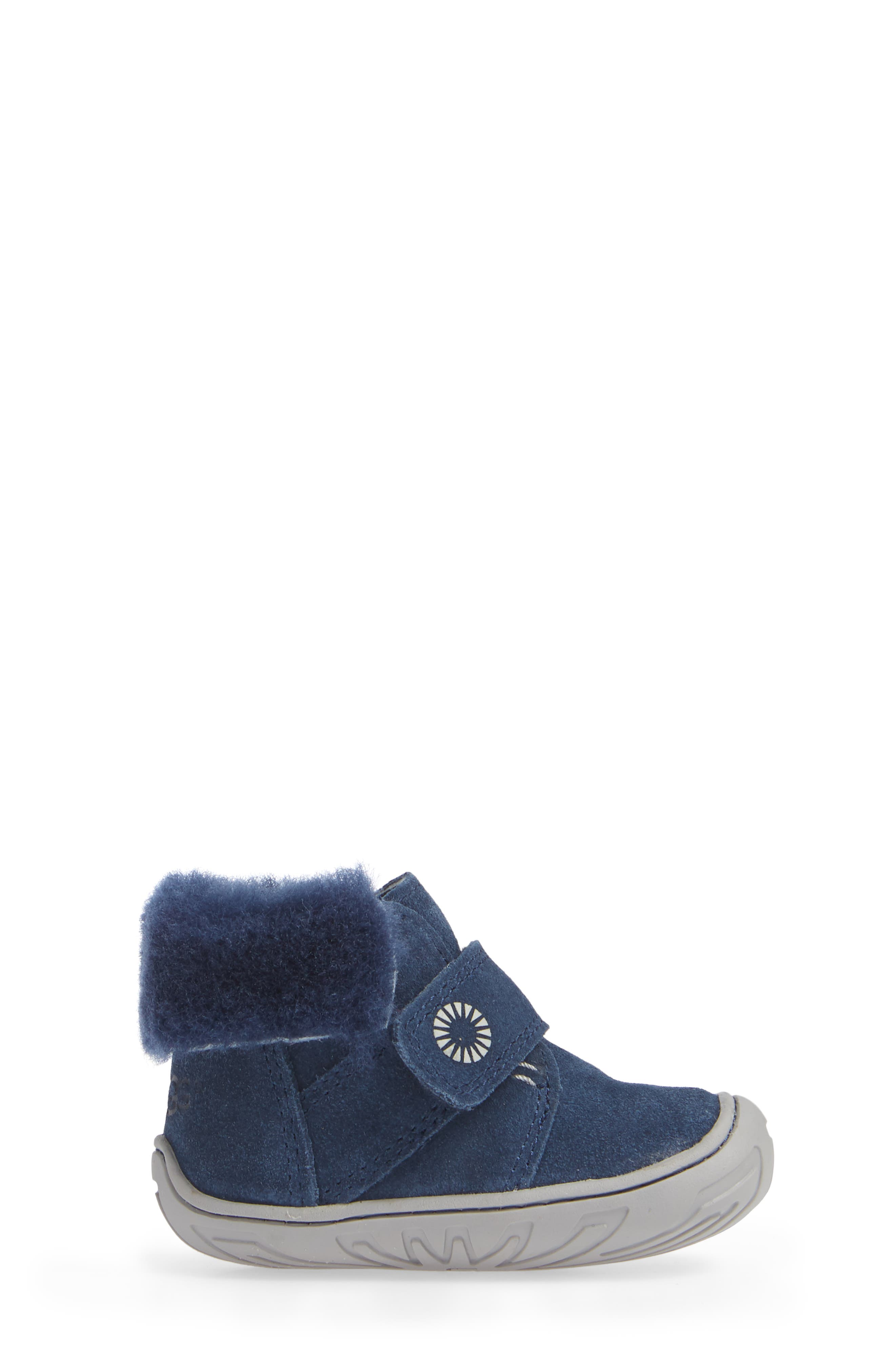 Jorgen Genuine Shearling Bootie,                             Alternate thumbnail 3, color,                             NEW NAVY
