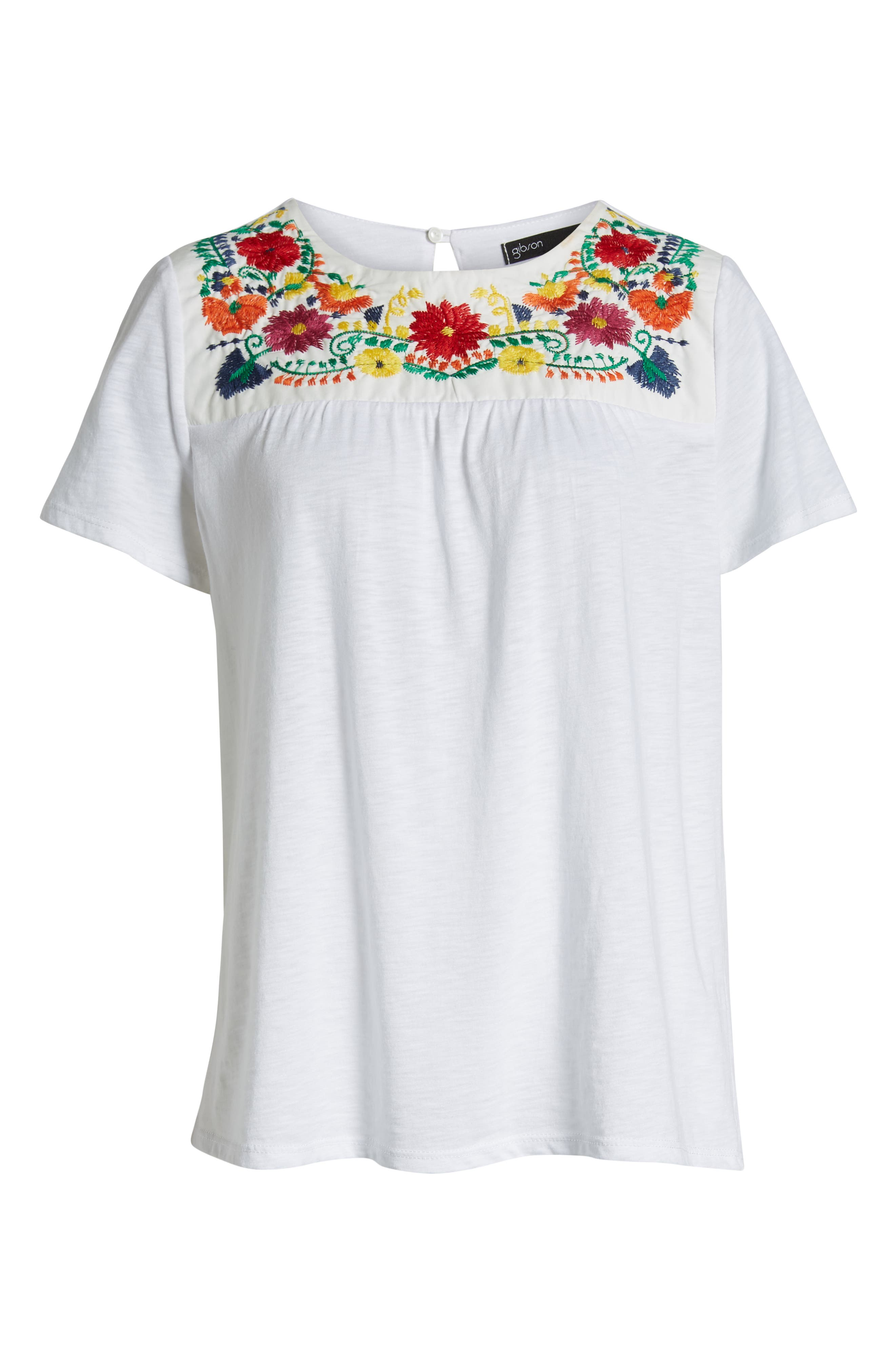 x Hi Sugarplum! Savannah Embroidered Yoke Tee,                             Alternate thumbnail 6, color,                             WHITE MULTI COLOR