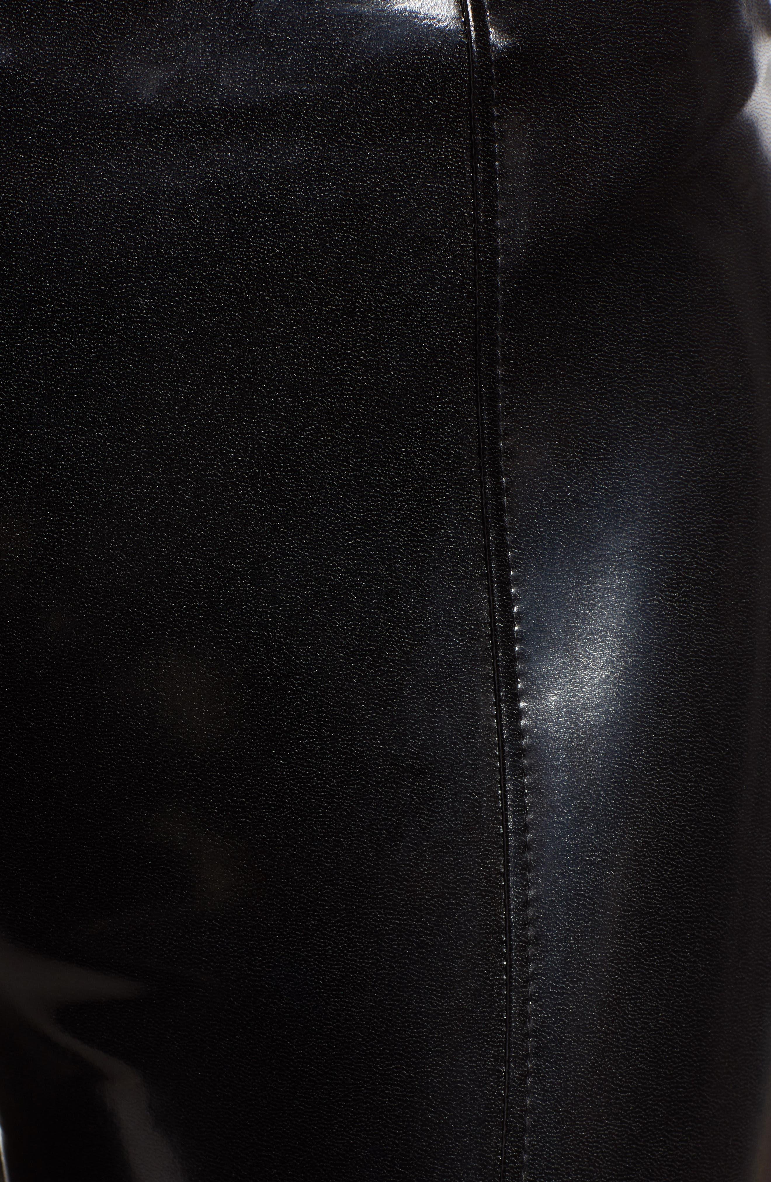 Patent Faux Leather Leggings,                             Alternate thumbnail 6, color,                             BLACK