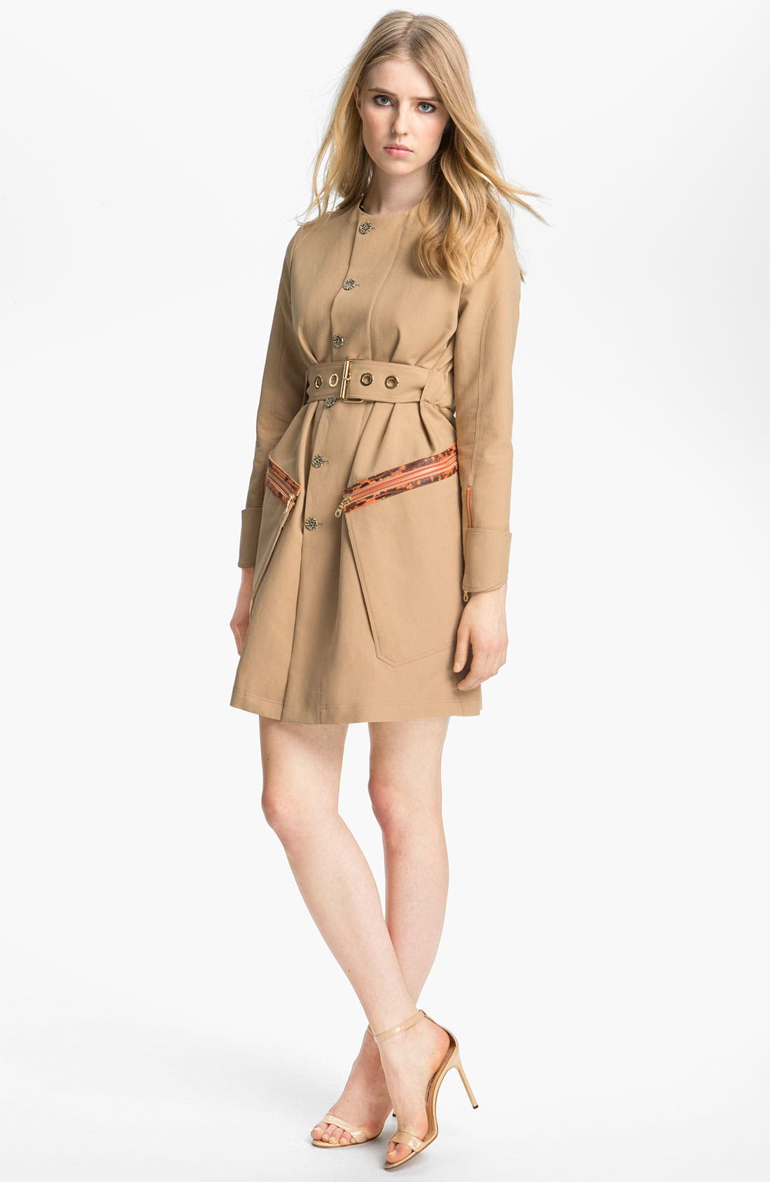 Belted Leather Trim Trench Coat,                             Alternate thumbnail 2, color,                             250