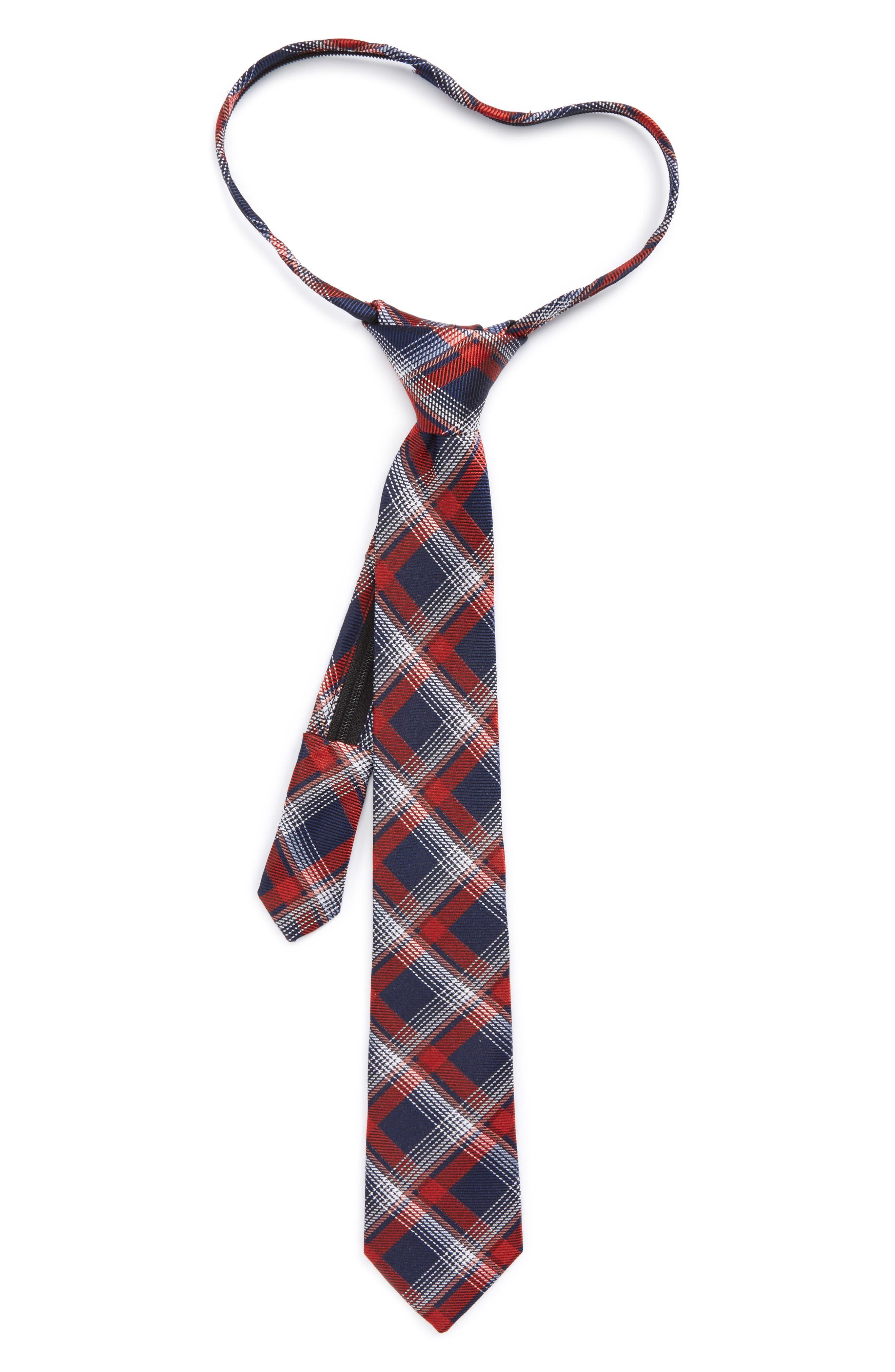 Plaid Silk Zip Tie,                             Main thumbnail 5, color,