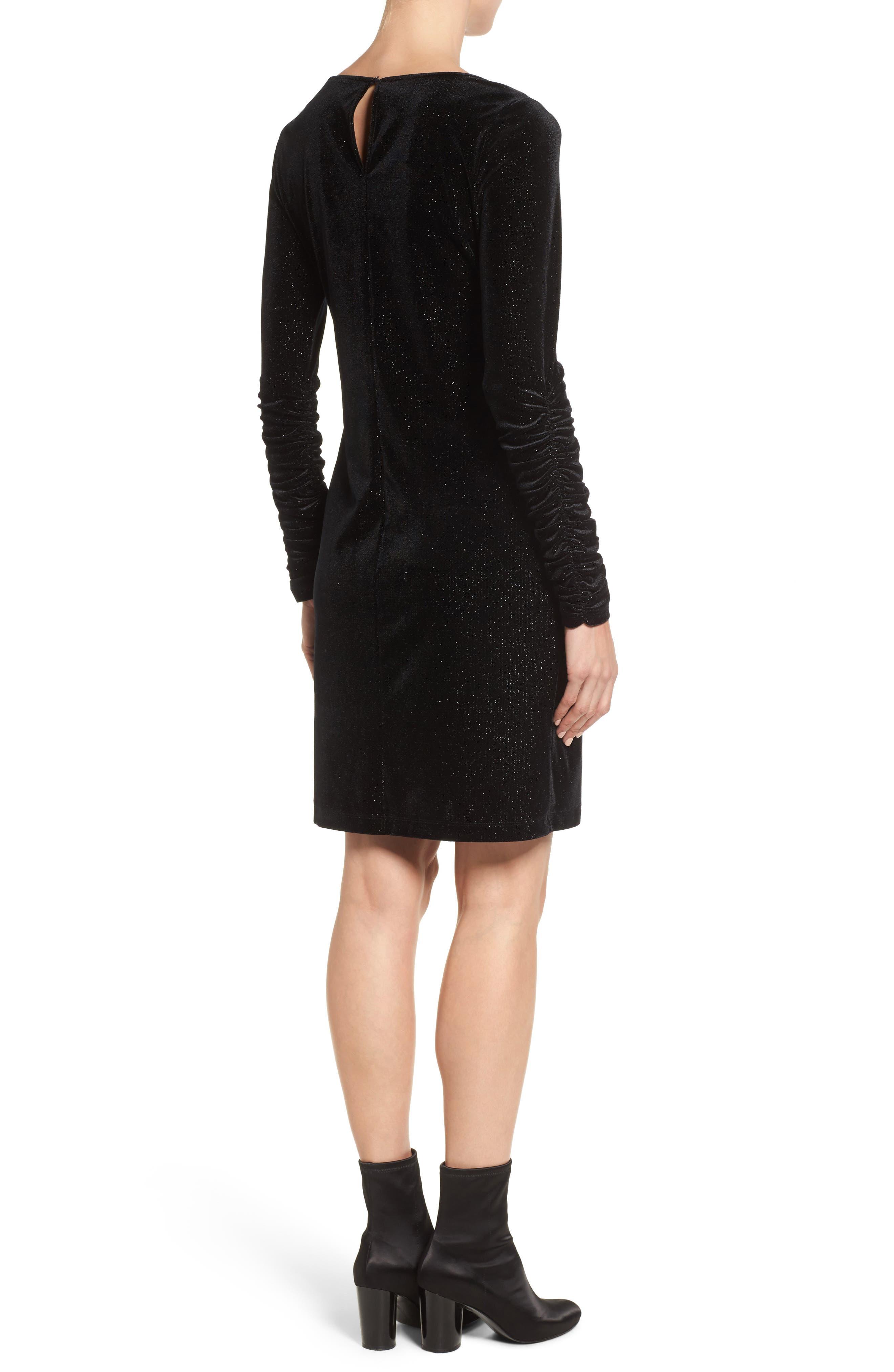 Ruched Sleeve Sparkle Velvet Dress,                             Alternate thumbnail 2, color,                             006