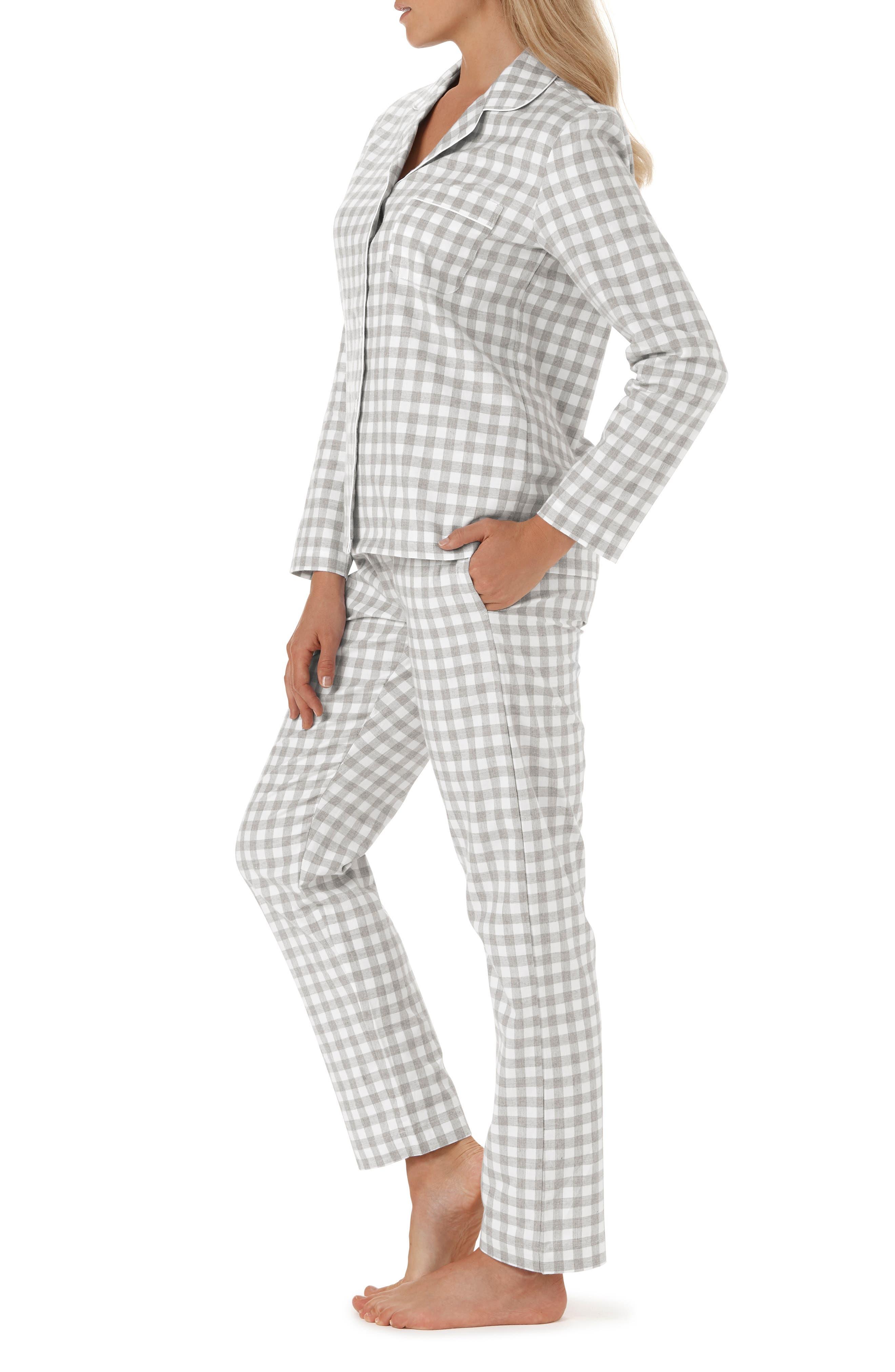 Gingham Check Pajamas,                             Alternate thumbnail 3, color,                             GREY/ WHITE GINGHAM
