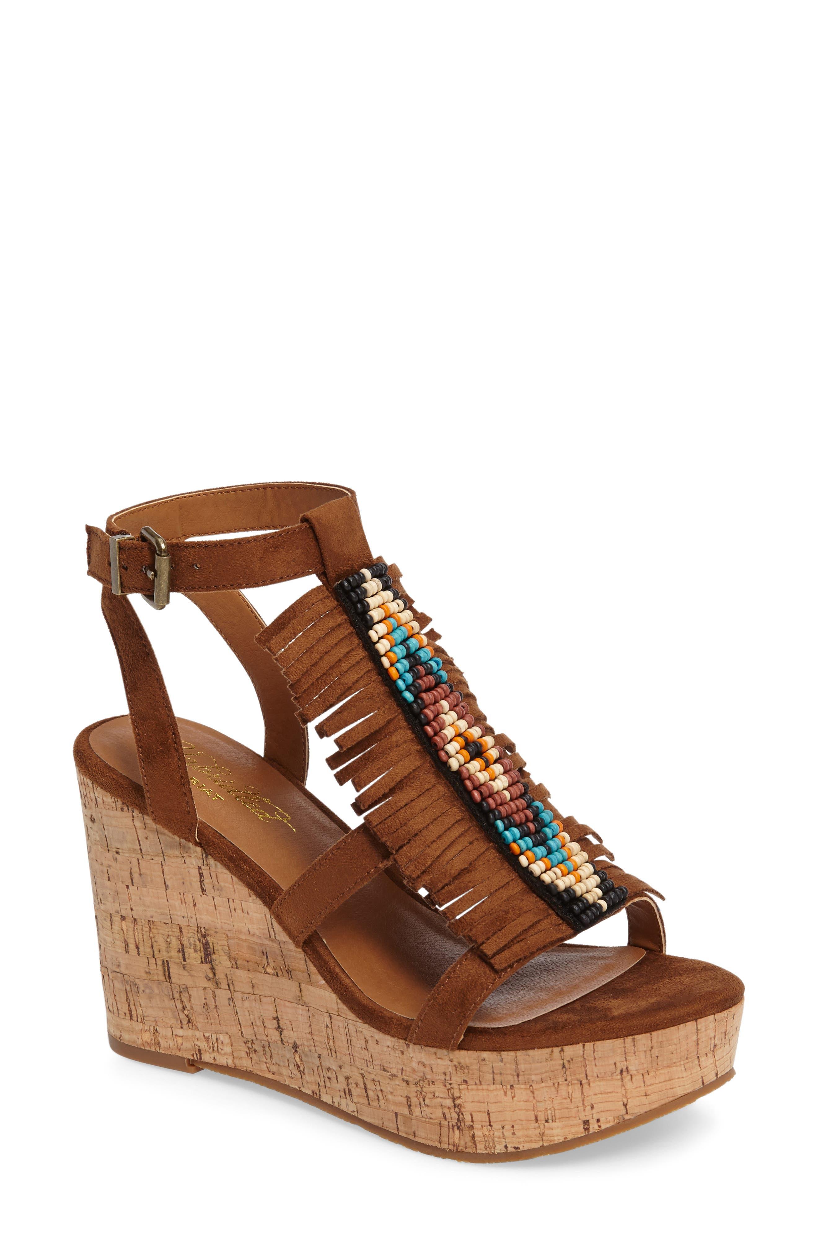 Unbridled Lolita Wedge Sandal,                         Main,                         color, LIGHT COGNAC SUEDE