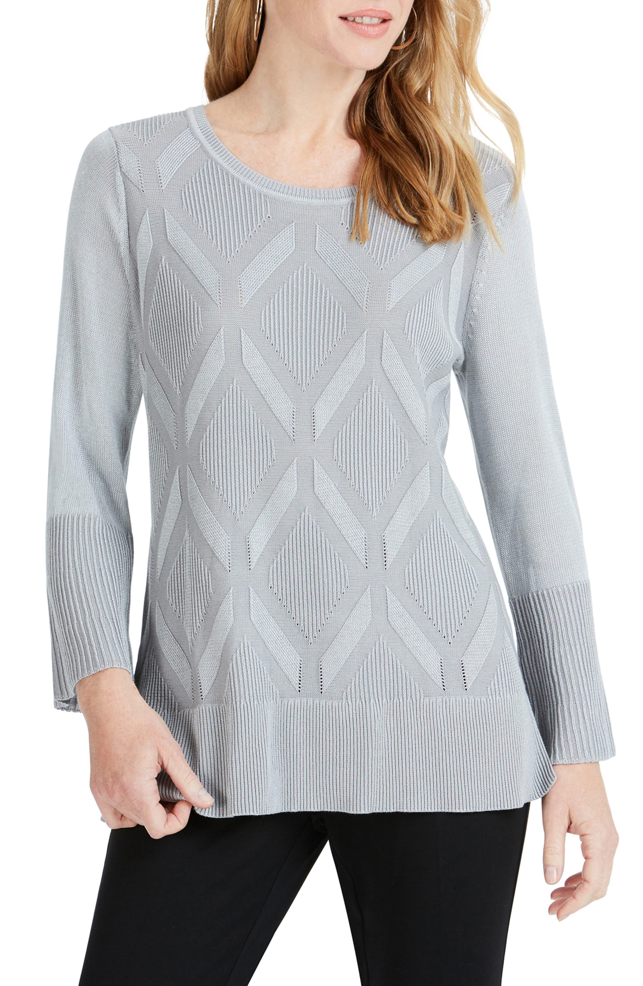 FOXCROFT Dion Diamond Pattern Sweater in Sterling