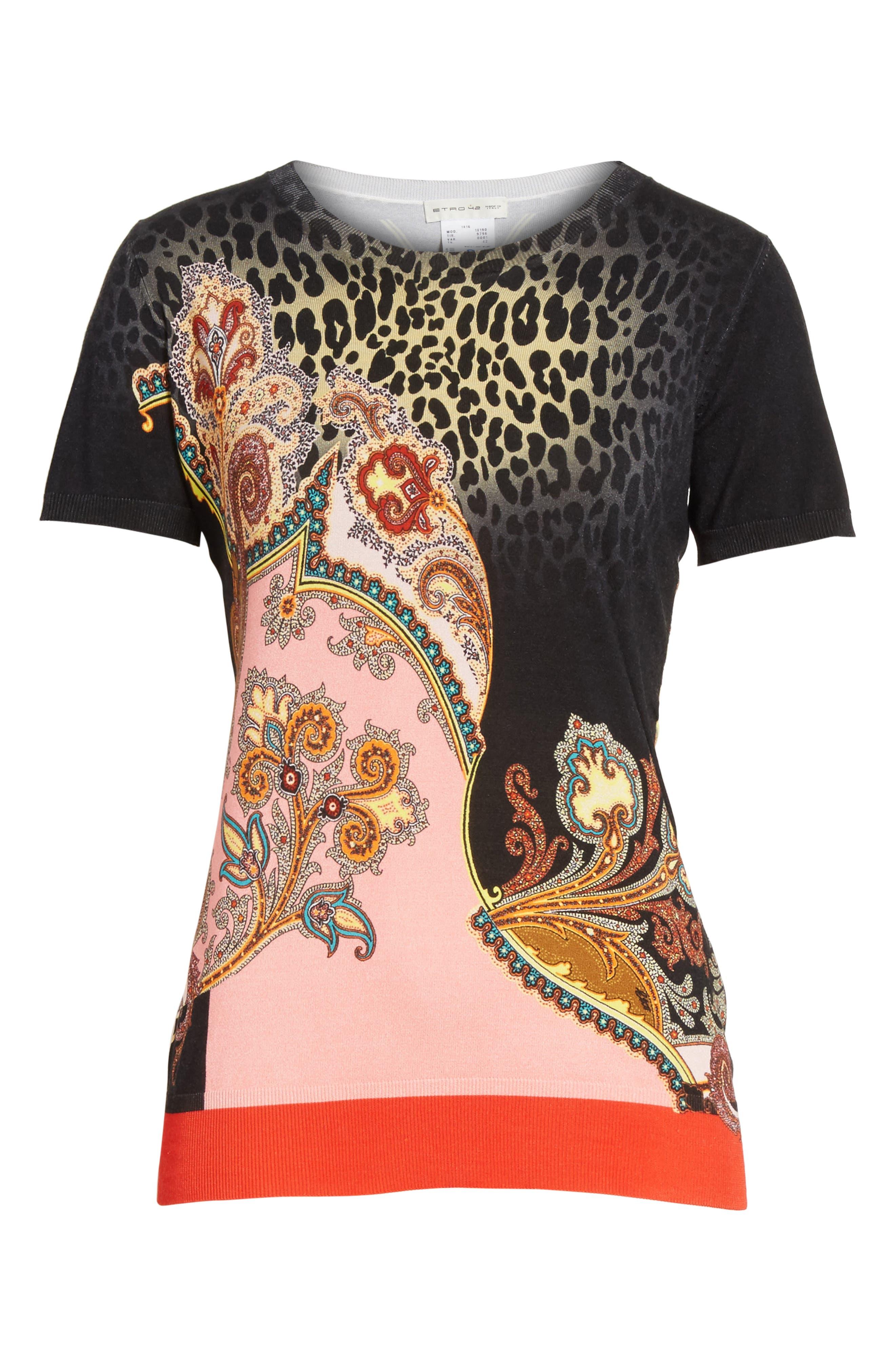 Leopard Paisley Print Stretch Silk Sweater,                             Alternate thumbnail 6, color,                             001