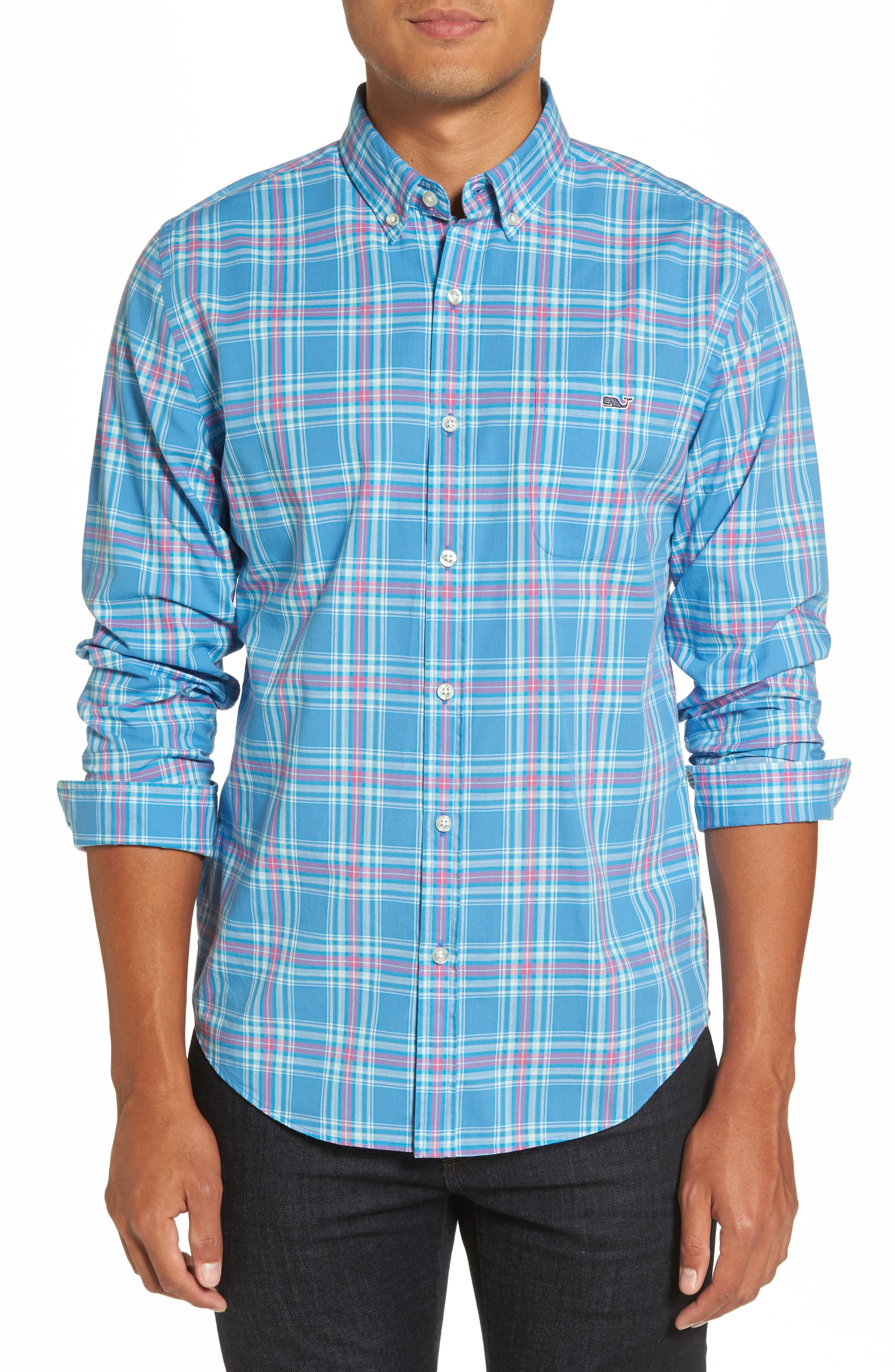 Pelon Plaid Tucker Slim Fit Sport Shirt,                         Main,                         color, 496