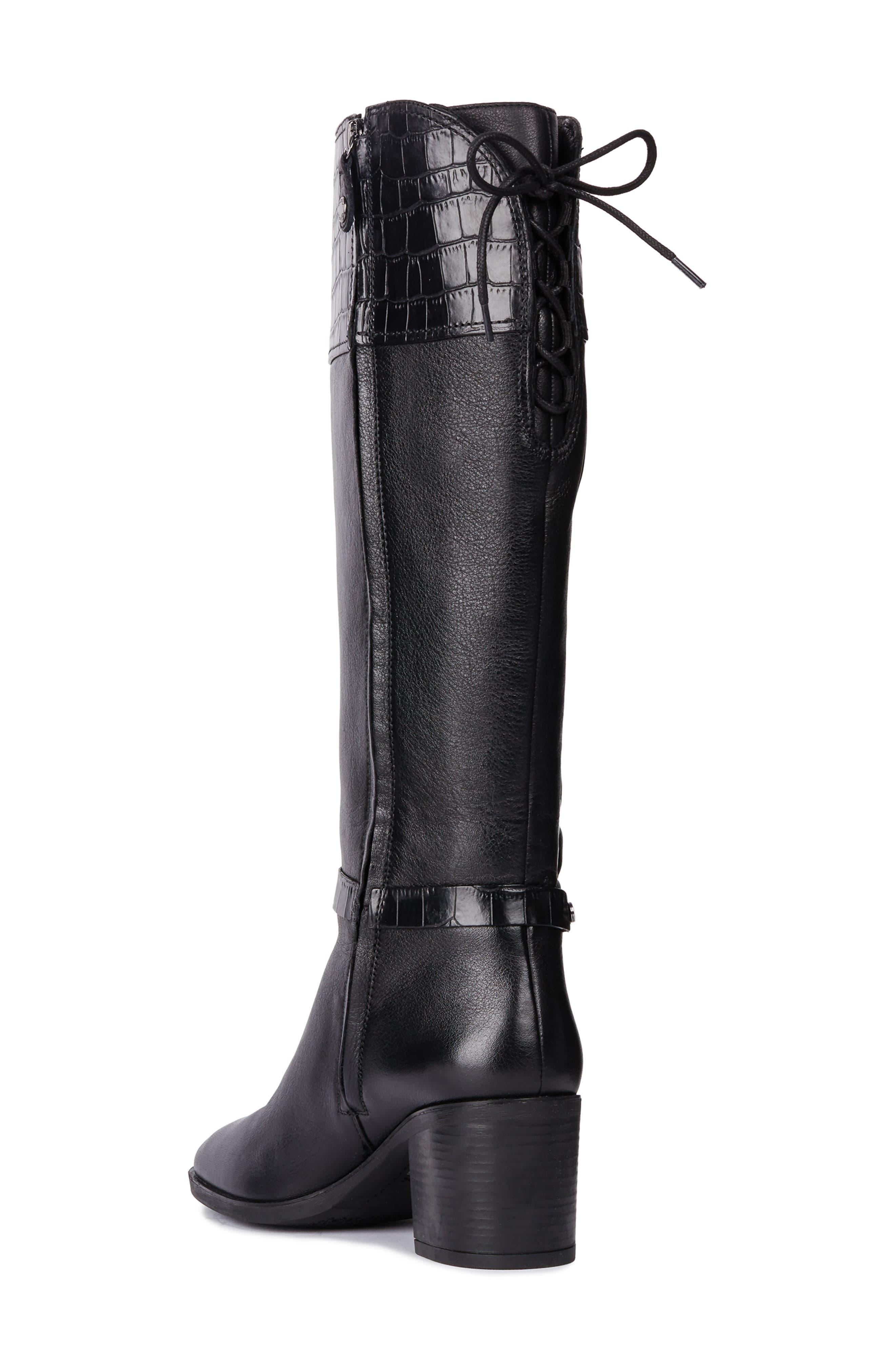 Glynna Knee High Boot,                             Alternate thumbnail 2, color,                             BLACK/ BLACK LEATHER