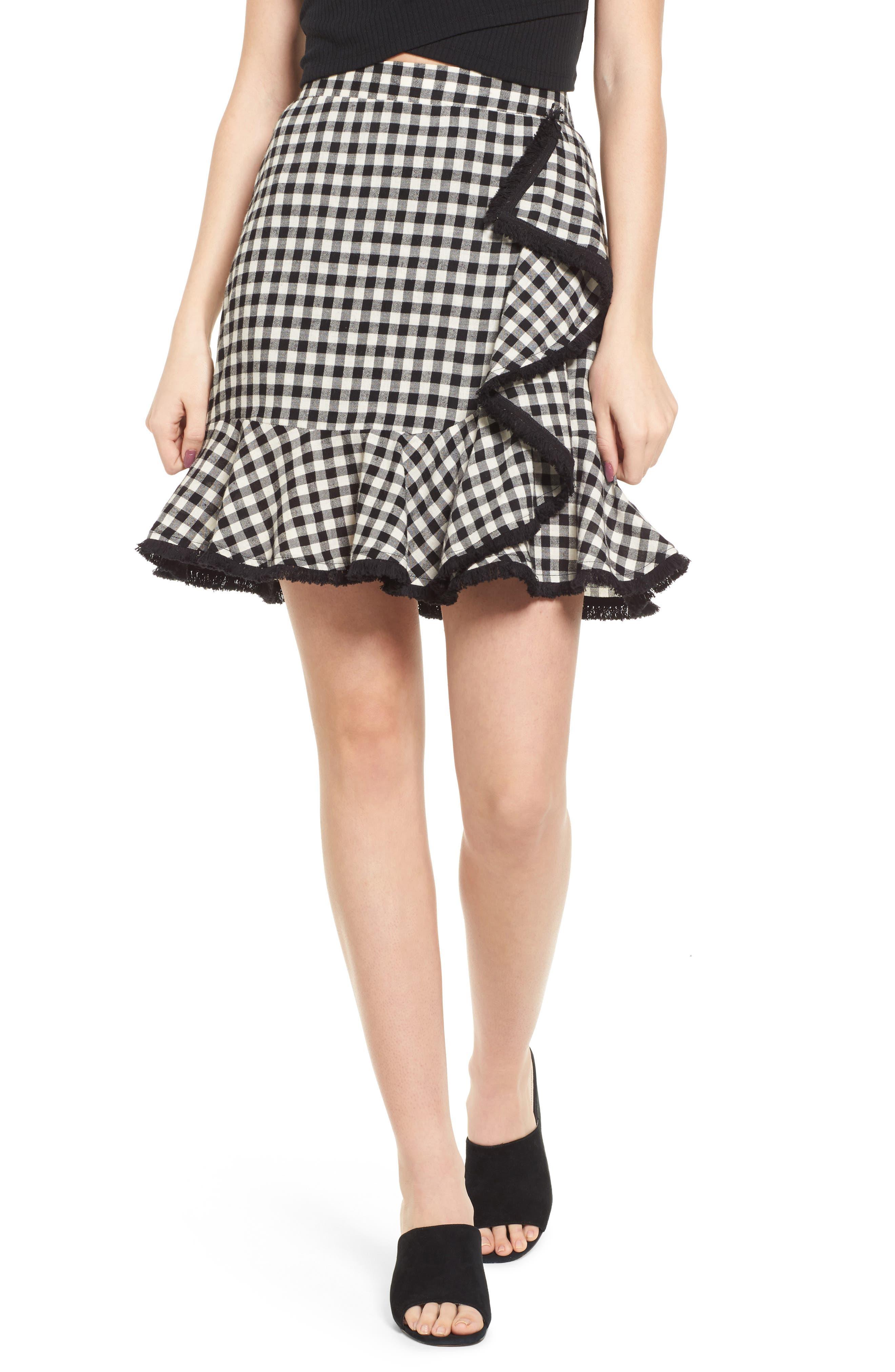 Ruffle Trim Gingham Skirt,                             Main thumbnail 1, color,                             001