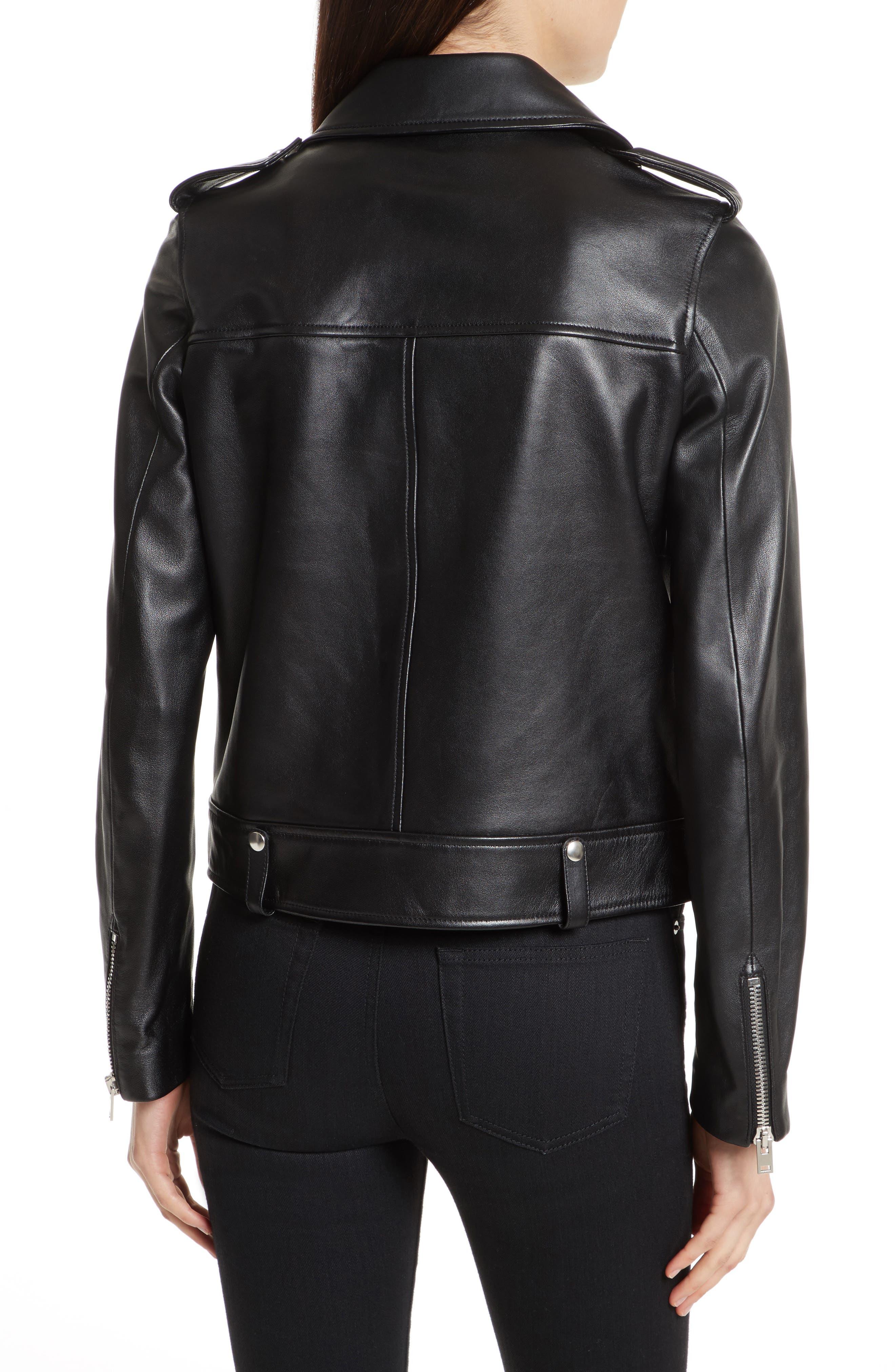 Ryder Leather Biker Jacket,                             Alternate thumbnail 2, color,