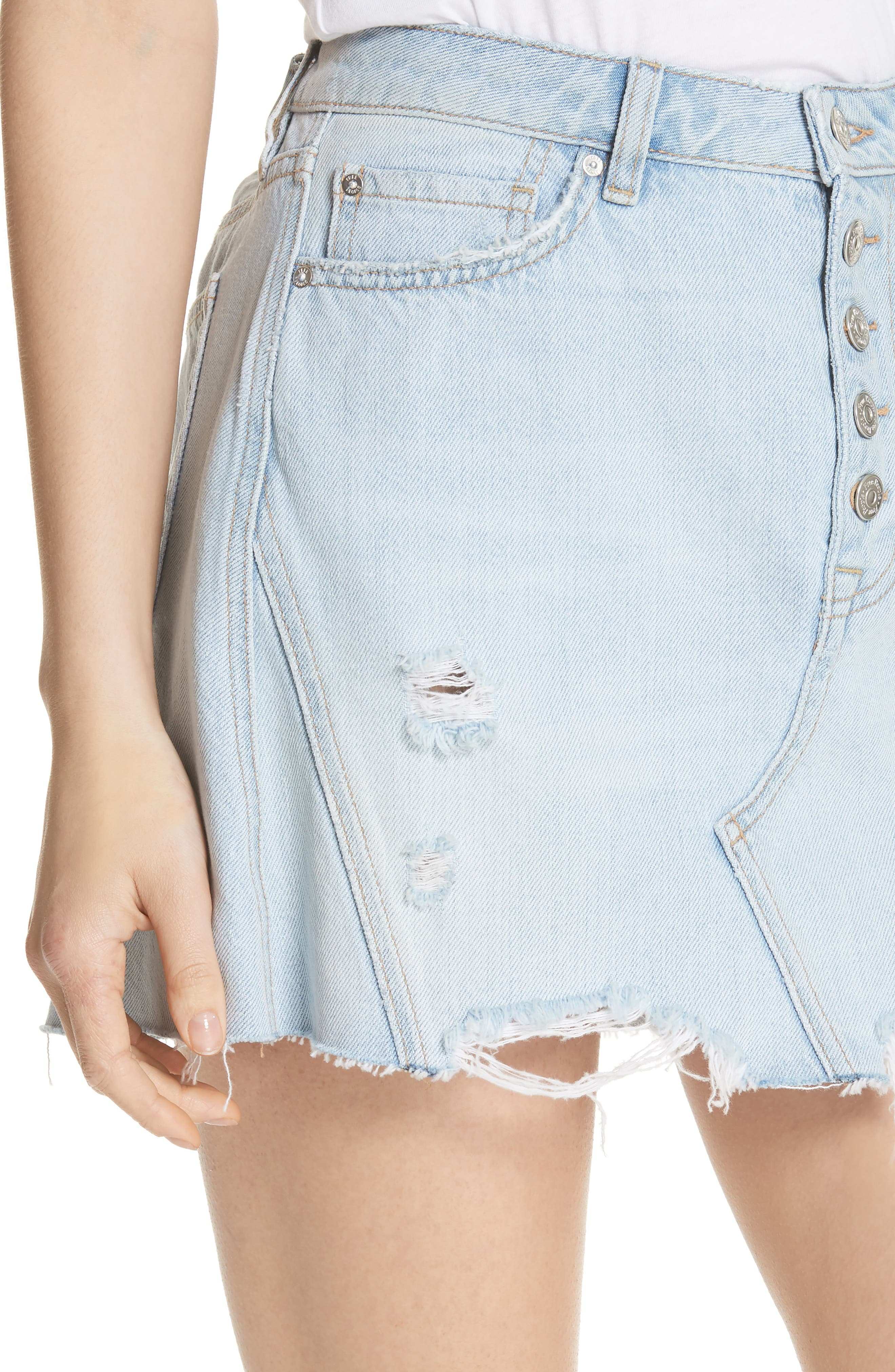 We the Free by Free People Denim A-Line Skirt,                             Alternate thumbnail 4, color,                             LIGHT DENIM