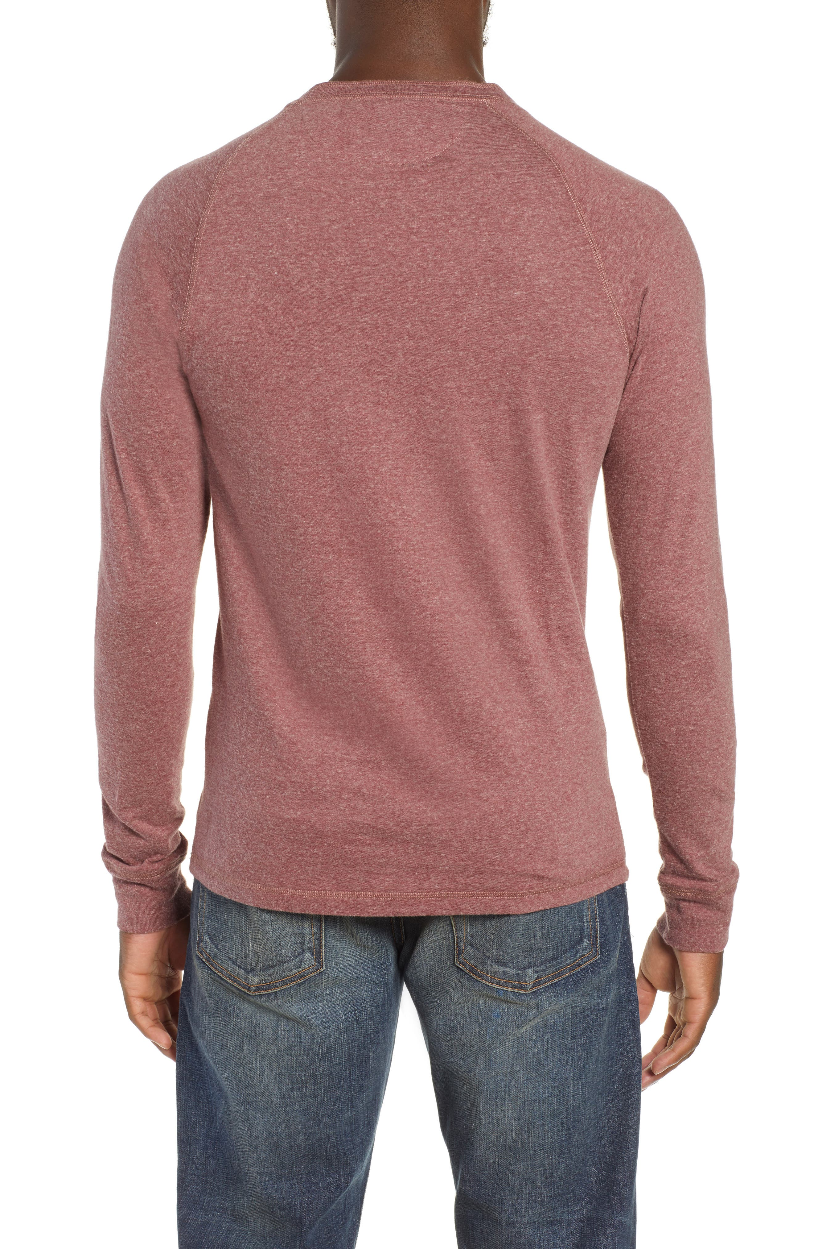 Luxe Heather Knit Organic Cotton Henley,                             Alternate thumbnail 2, color,                             BURGUNDY
