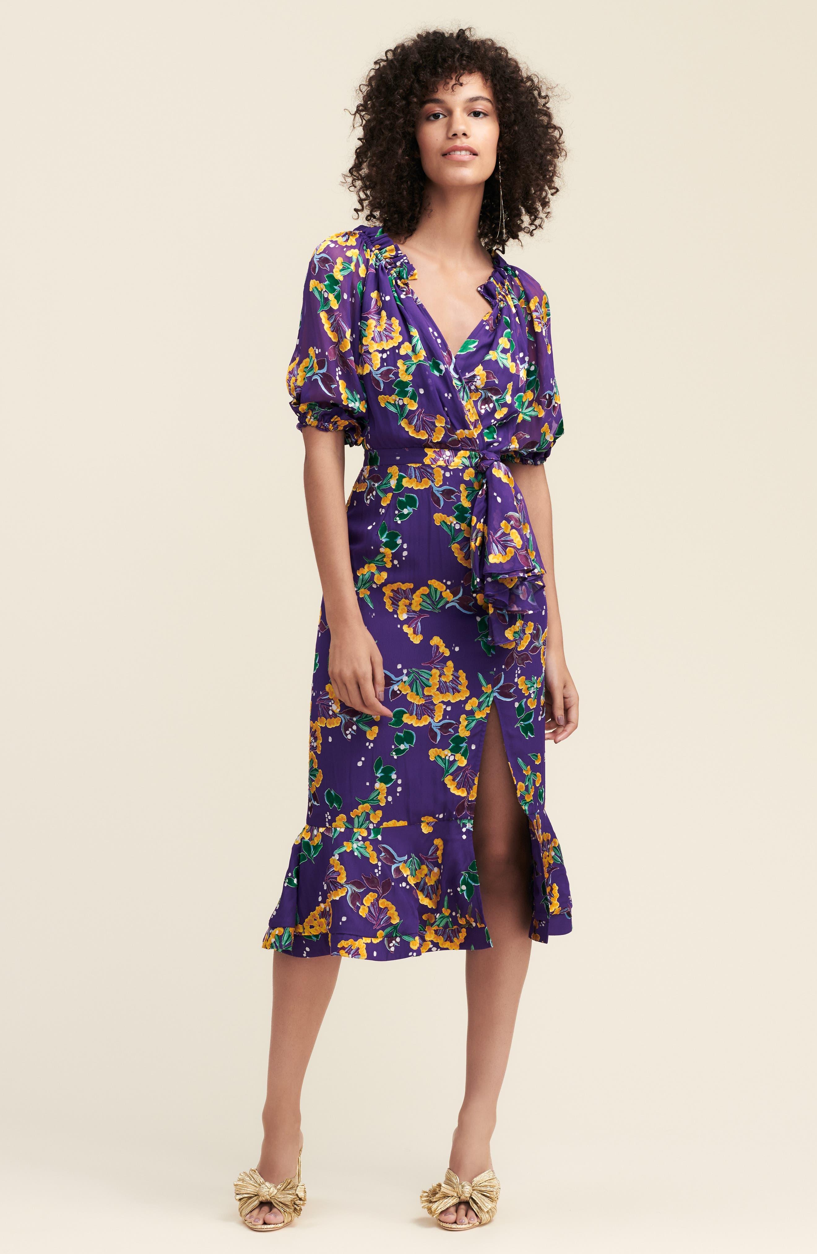 Olivia Silk Blend Midi Dress,                             Alternate thumbnail 7, color,                             VIOLET SWEETPEAS