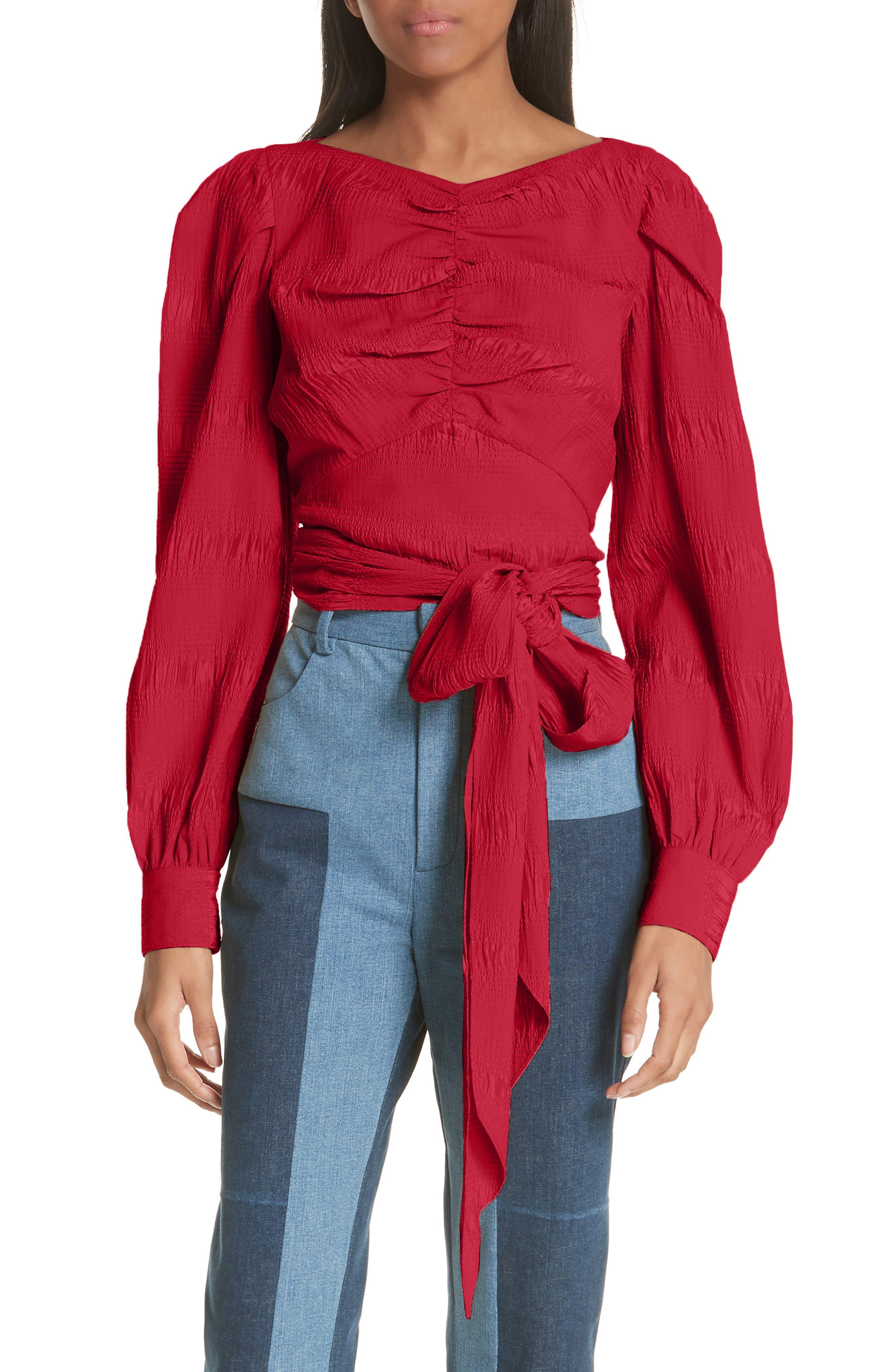RACHEL COMEY,                             Bounds Tie Waist Silk Blend Top,                             Main thumbnail 1, color,                             600