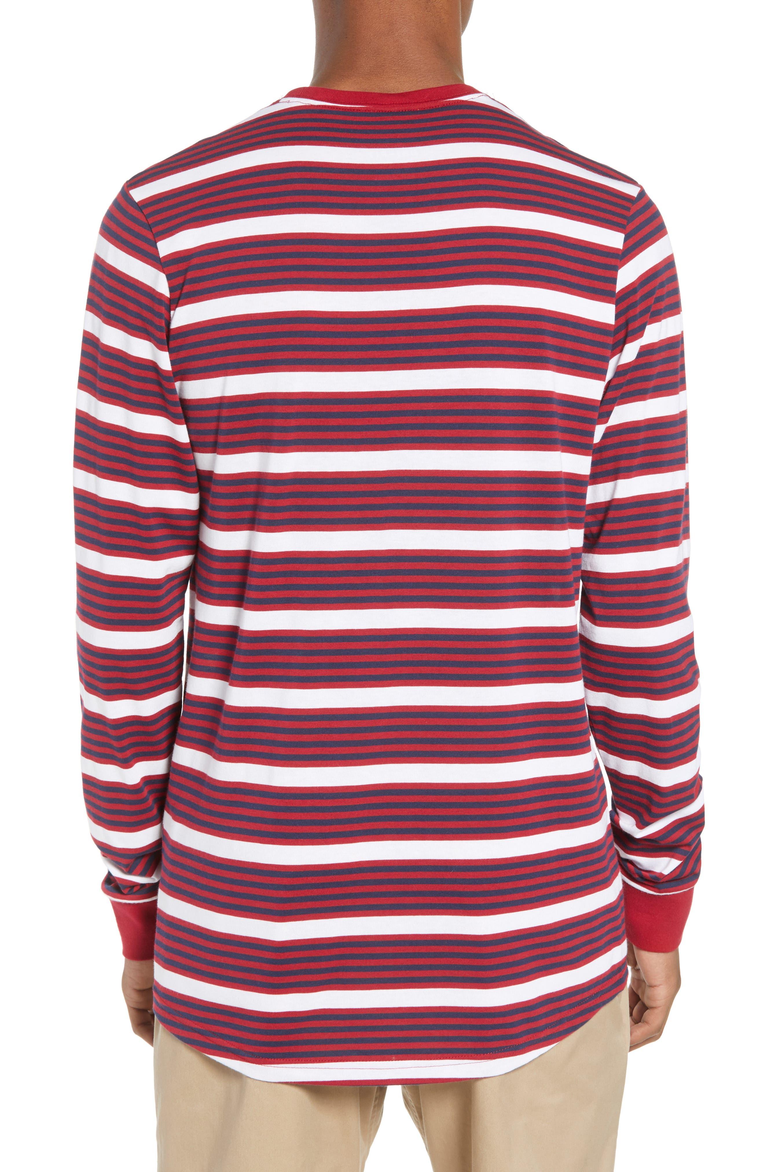 Dry Stripe Long Sleeve T-Shirt,                             Alternate thumbnail 2, color,                             RED CRUSH/ OBSIDIAN