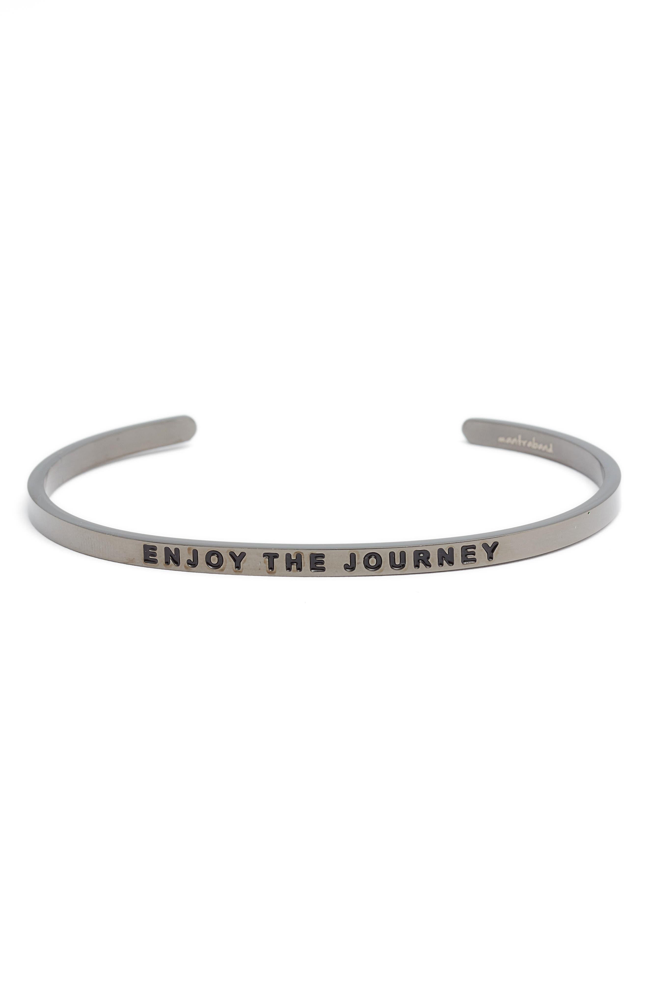 'Enjoy the Journey' Cuff,                             Main thumbnail 1, color,                             MOON GRAY