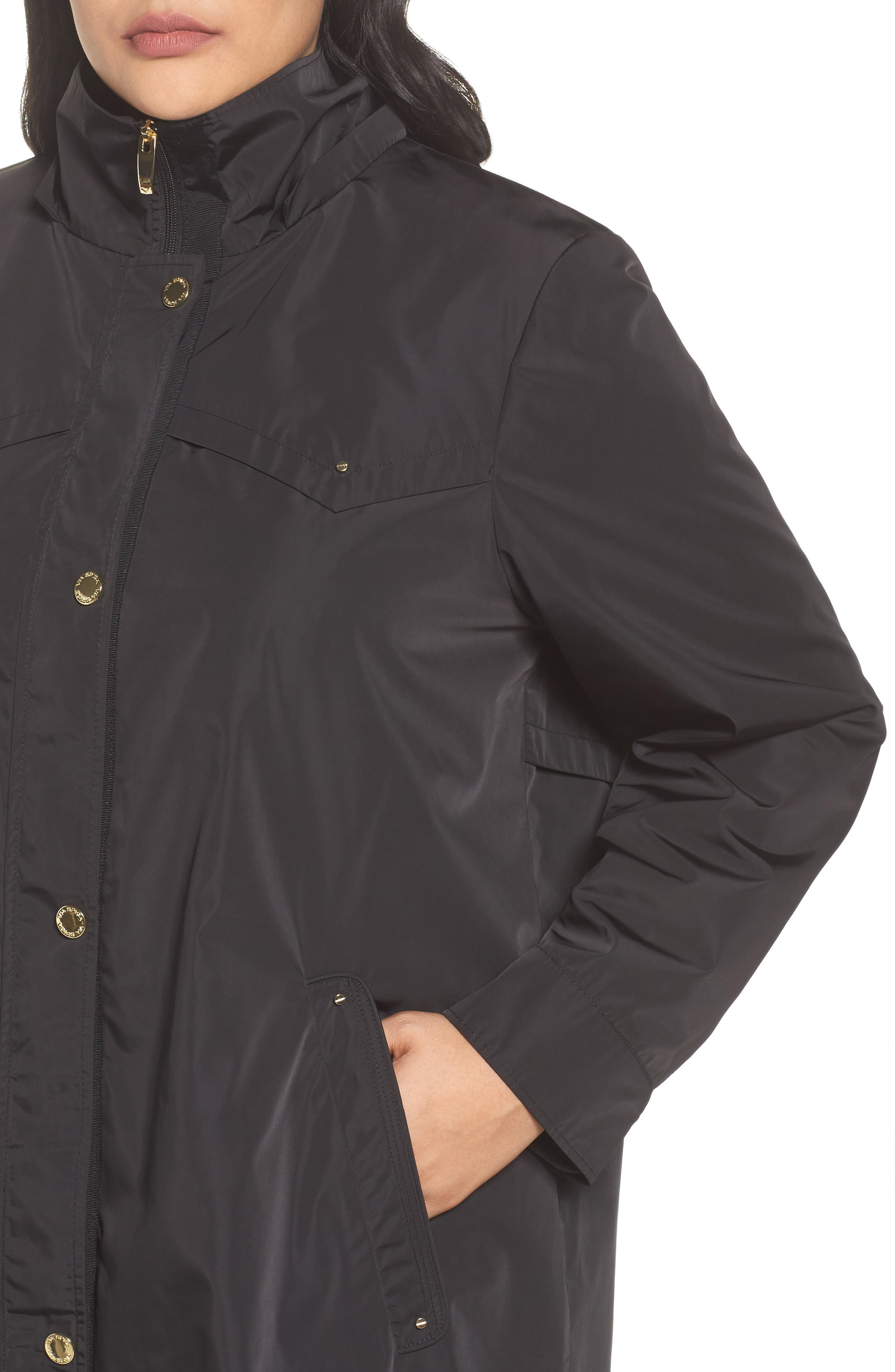 Hooded Packable Utility Coat,                             Alternate thumbnail 4, color,                             001