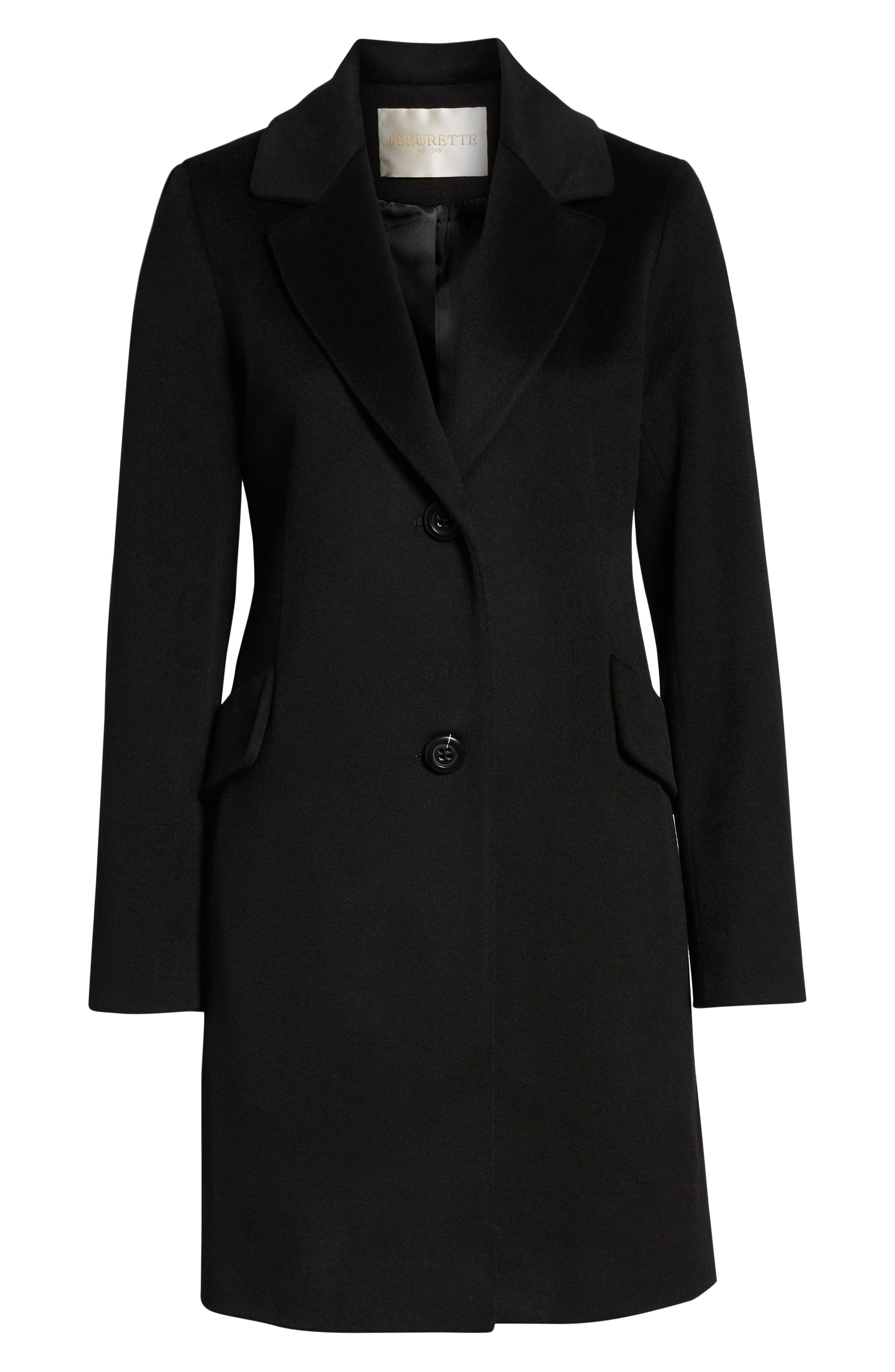 Notch Collar Wool Coat,                             Alternate thumbnail 6, color,                             BLACK