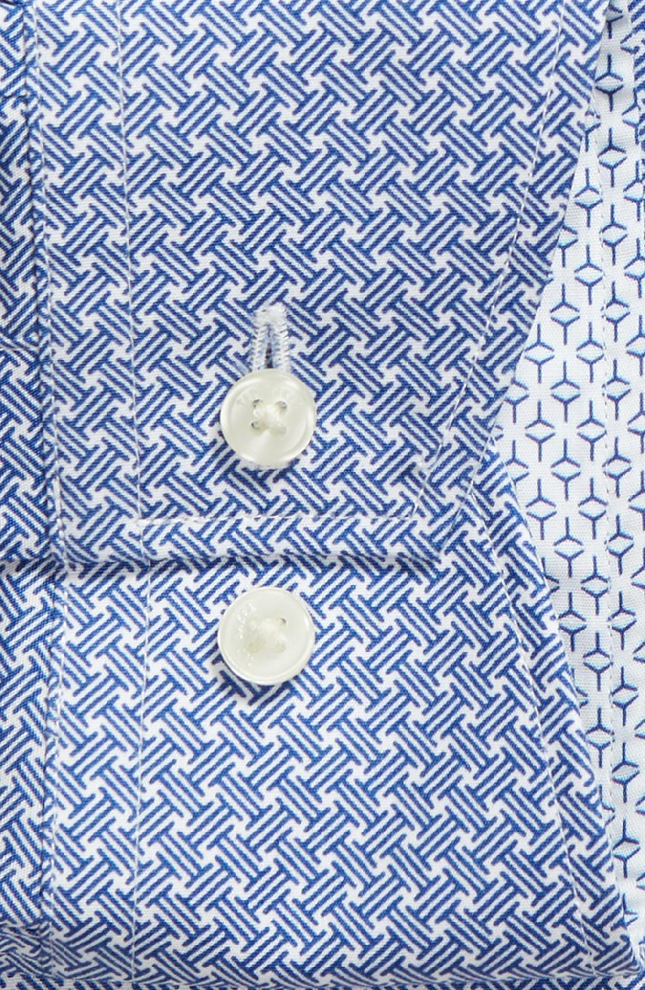 Rugber Slim Fit Print Dress Shirt,                             Alternate thumbnail 6, color,                             BLUE