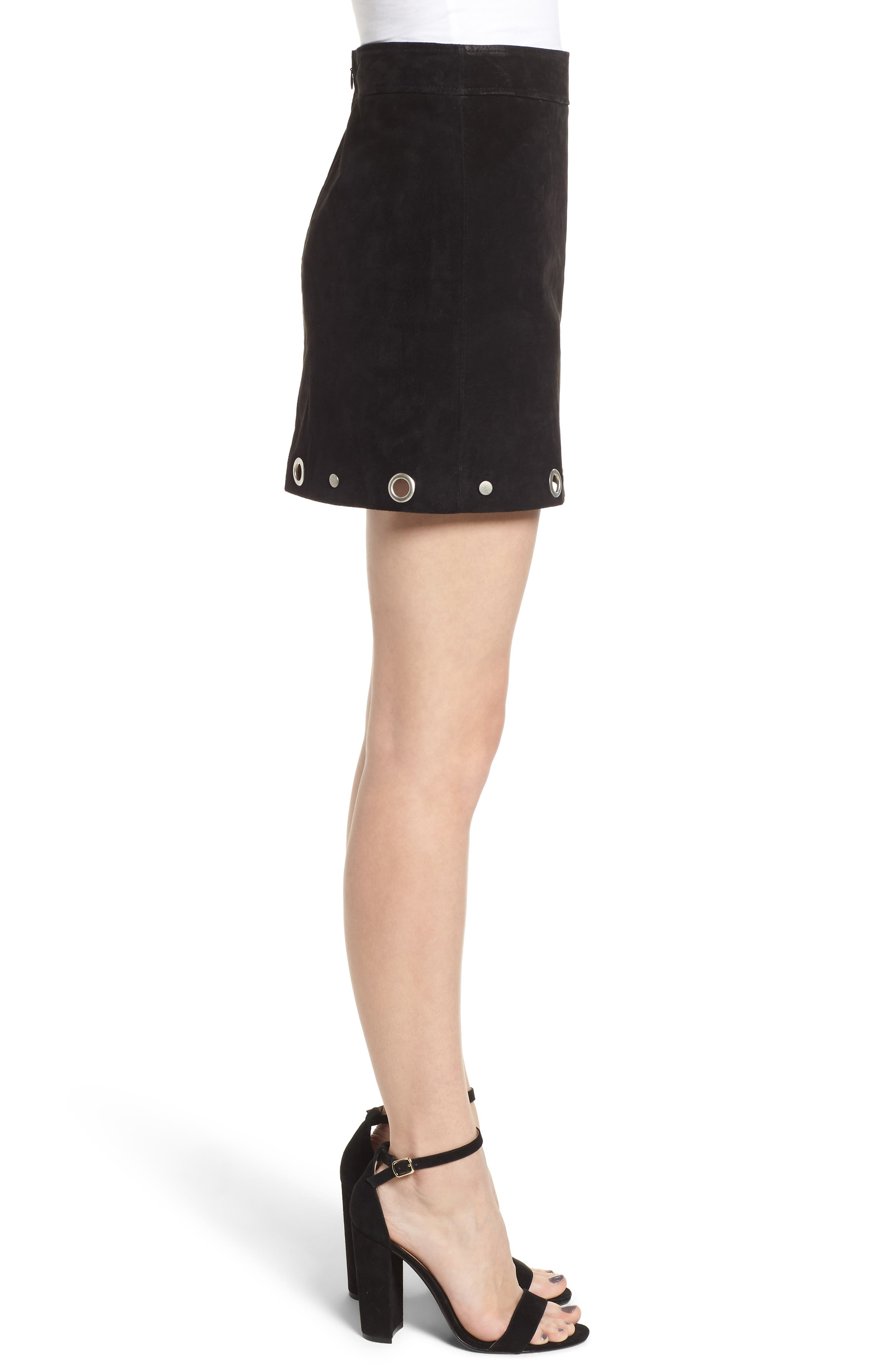 Grommet Suede Skirt,                             Alternate thumbnail 3, color,                             CASTLE BLACK