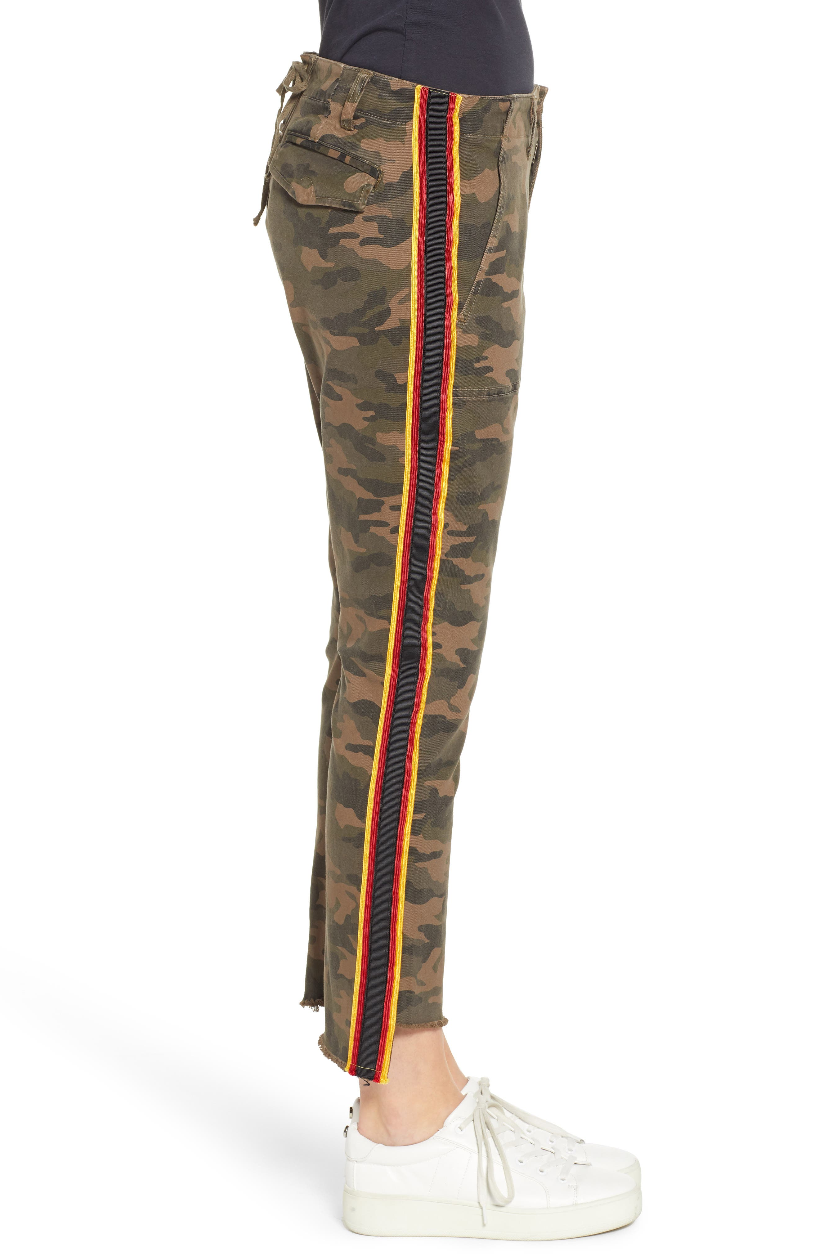 Uniform Stripe Step Hem Pants,                             Alternate thumbnail 3, color,                             ARMY