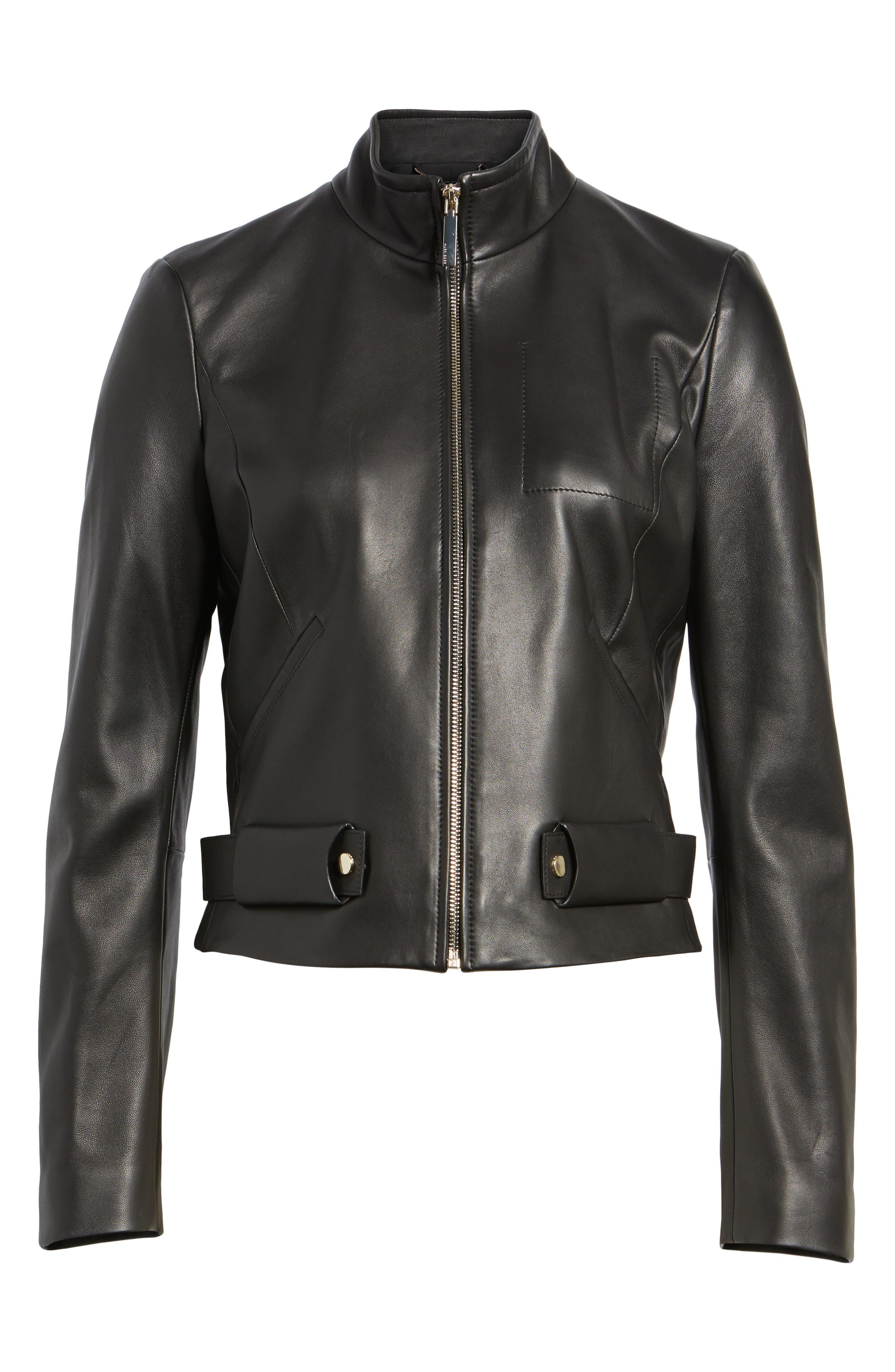 BOSS,                             Sanuvo Leather Jacket,                             Alternate thumbnail 5, color,                             001