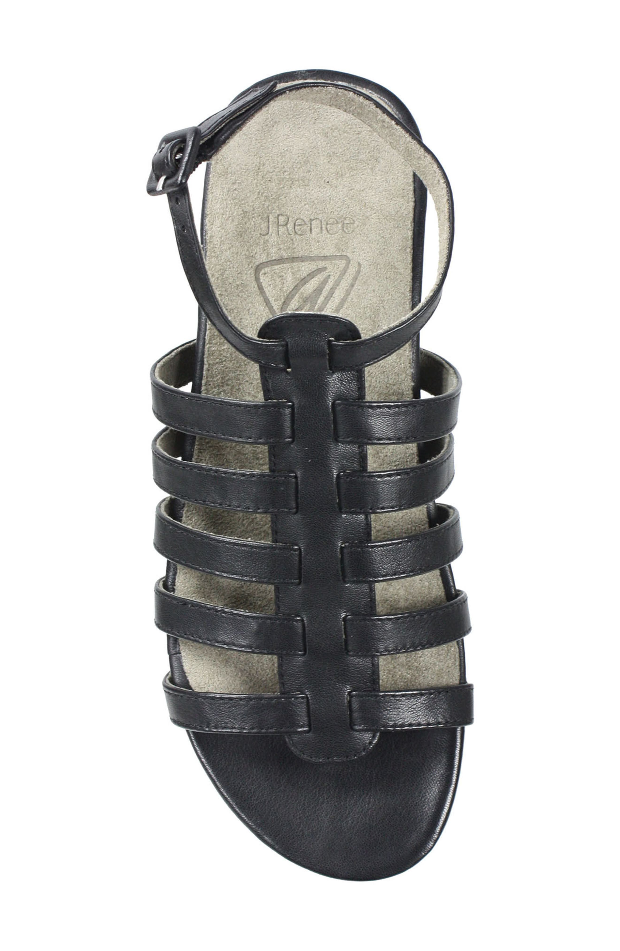 Delmor Ankle Strap Sandal,                             Alternate thumbnail 5, color,                             BLACK LEATHER