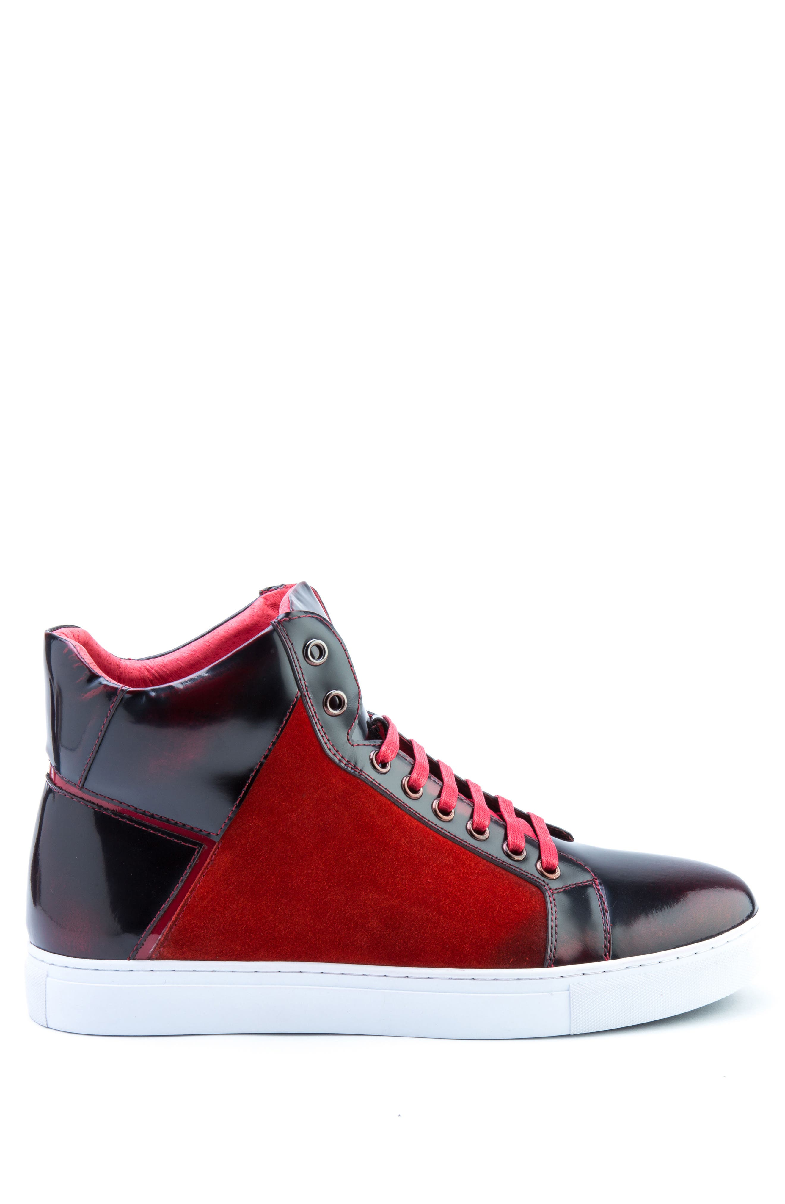 Douglas High Top Sneaker,                             Alternate thumbnail 3, color,                             RED LEATHER