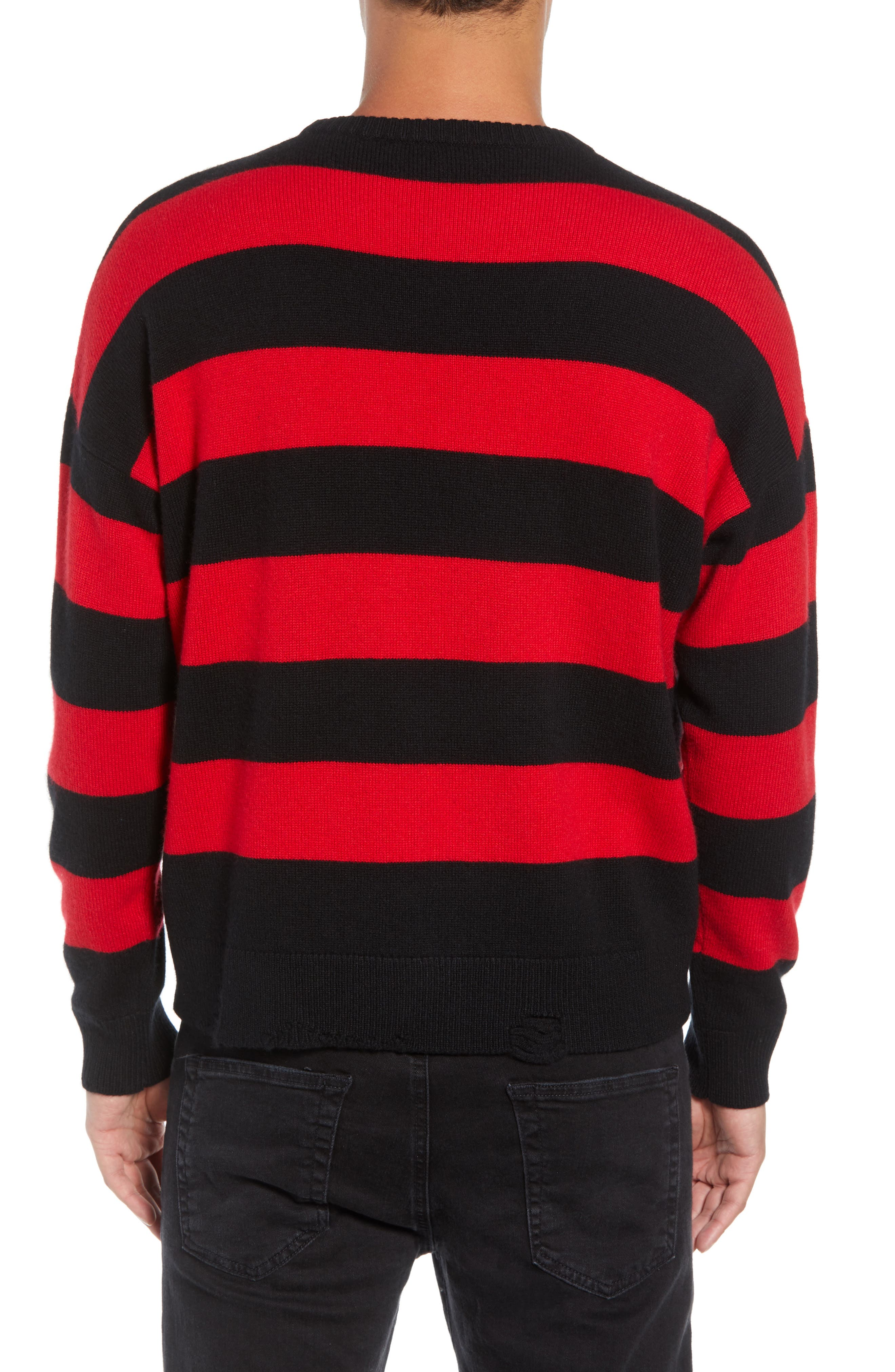 Shredded Stripe Sweater,                             Alternate thumbnail 2, color,                             RED/ BLACK