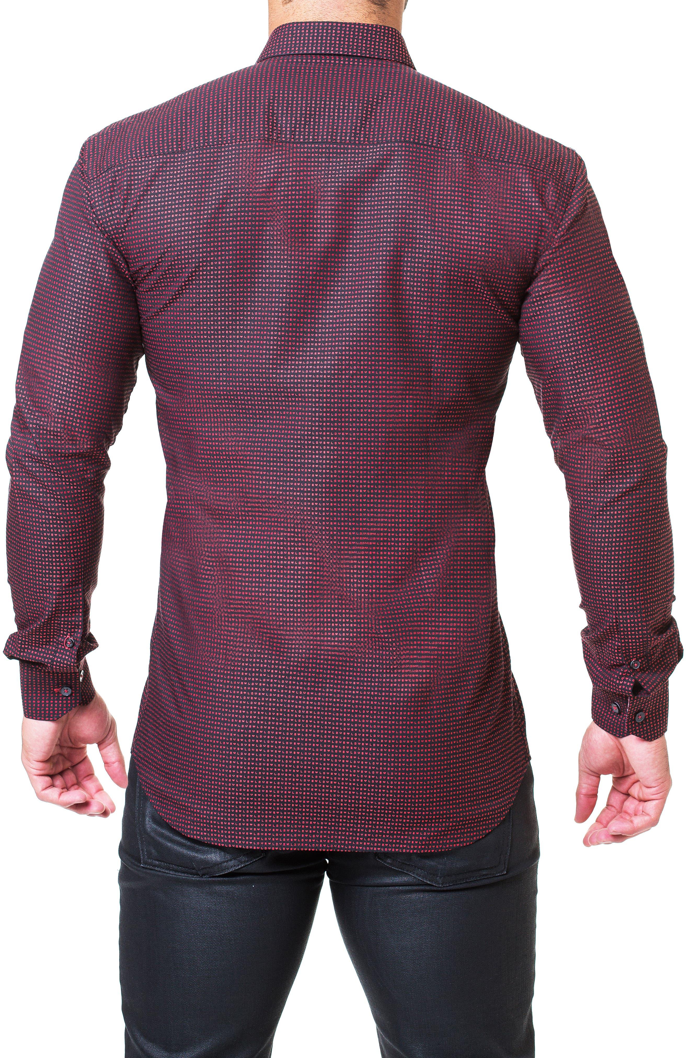 Fibonacci Love Trim Fit Print Sport Shirt,                             Alternate thumbnail 2, color,                             RED