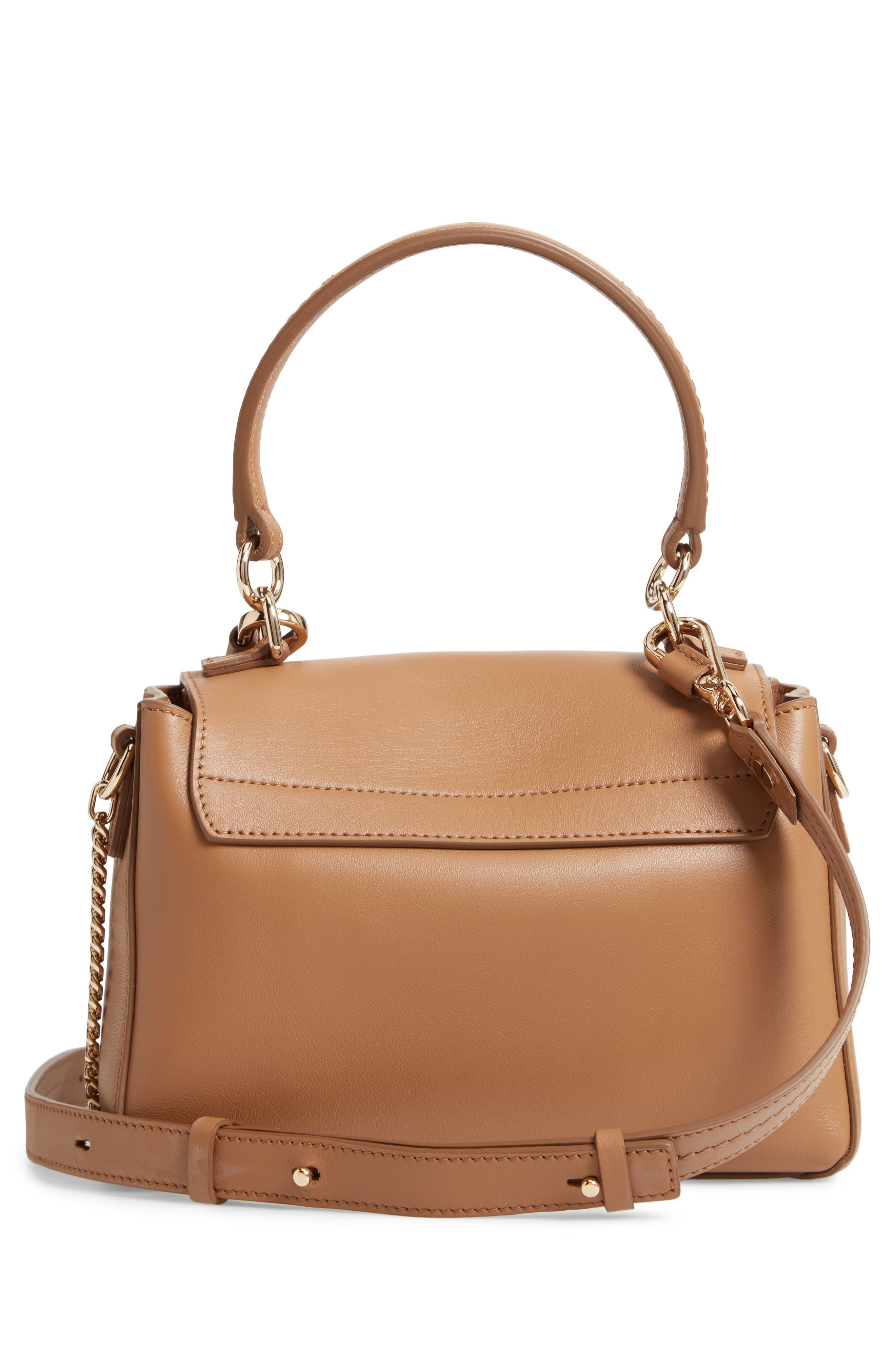 Mini Faye Day Leather Satchel,                             Alternate thumbnail 3, color,                             NUT