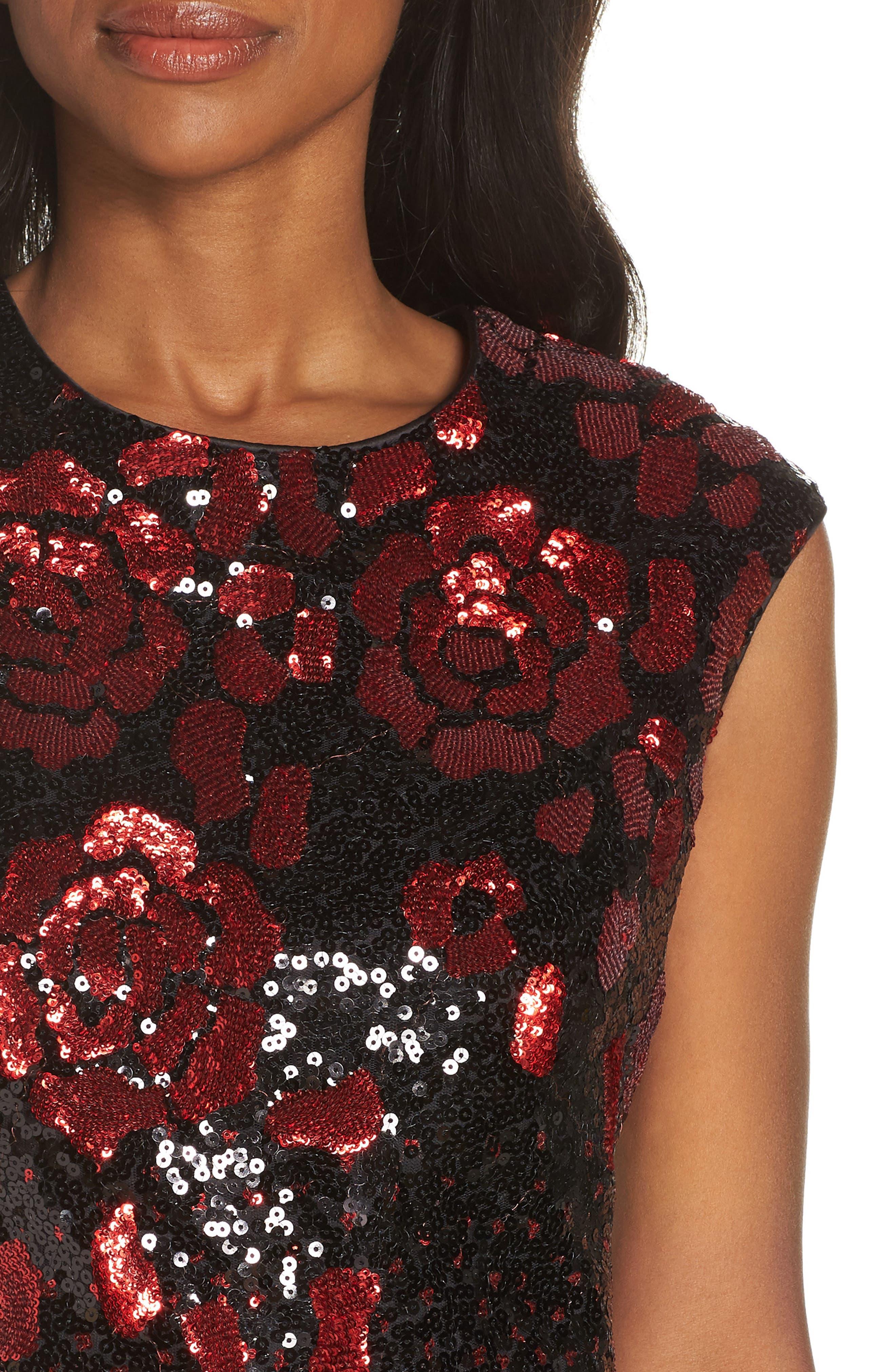 Body-Con Midi Dress,                             Alternate thumbnail 4, color,                             BLACK RED MULTI