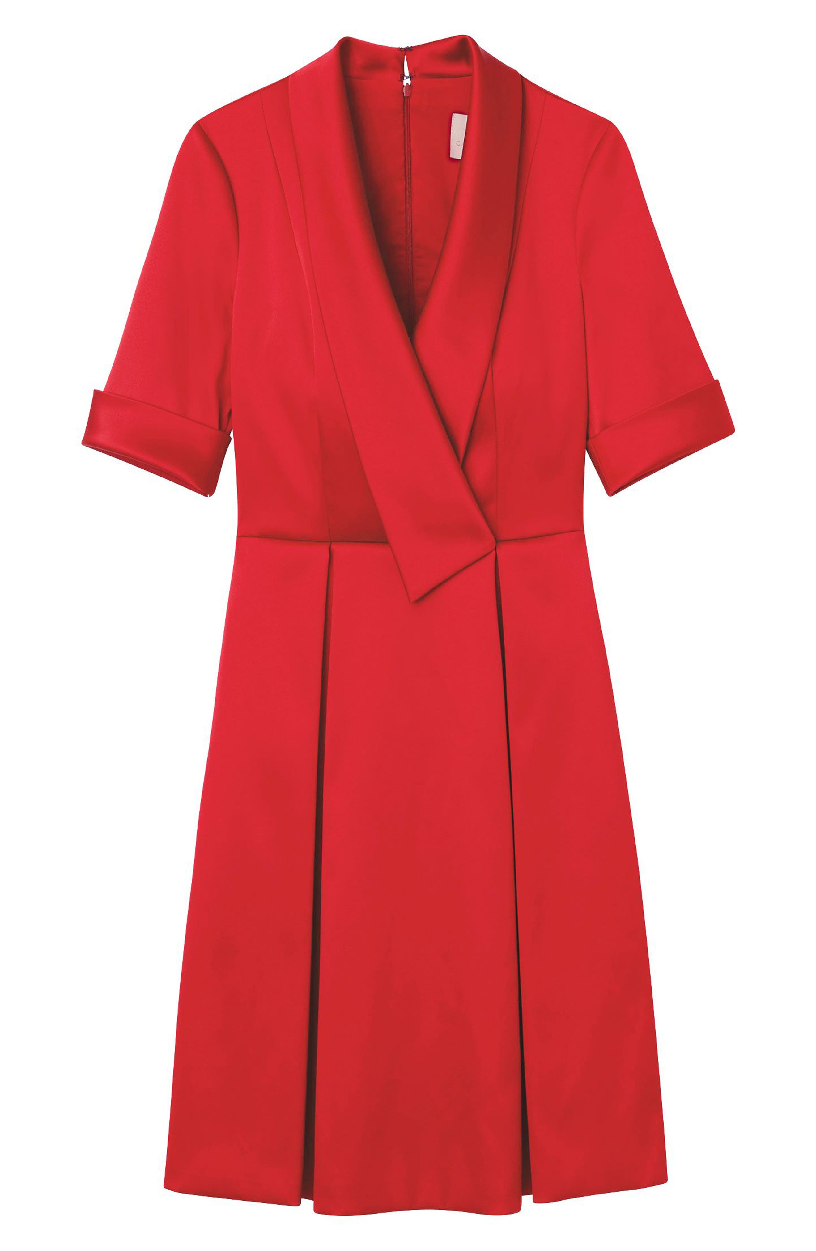 GAL MEETS GLAM COLLECTION,                             Ruby Royal Satin Asymmetrical Collar Dress,                             Alternate thumbnail 7, color,                             RUBY