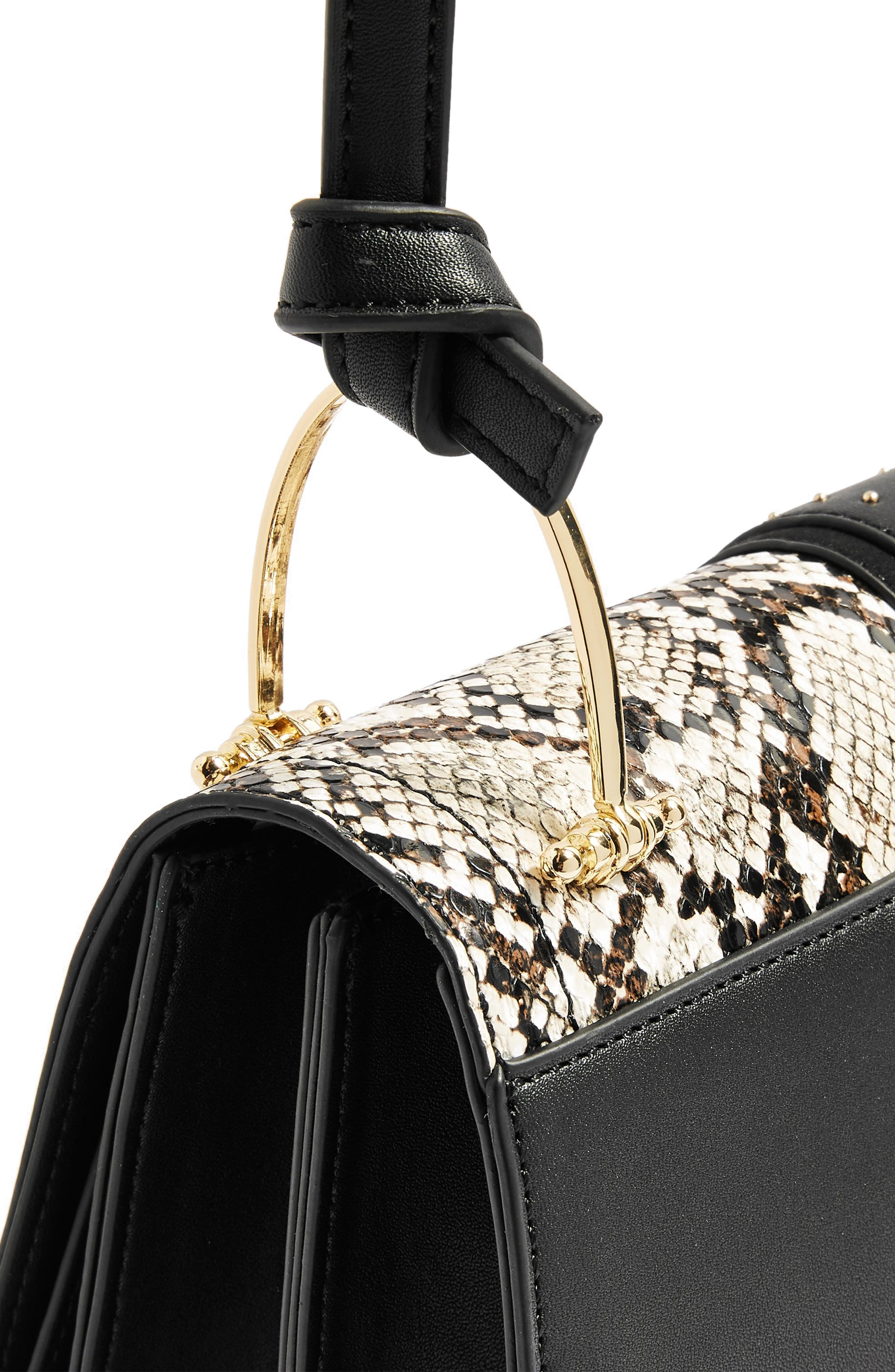 Suri Snake Effect Shoulder Bag,                             Alternate thumbnail 4, color,                             BLACK MULTI