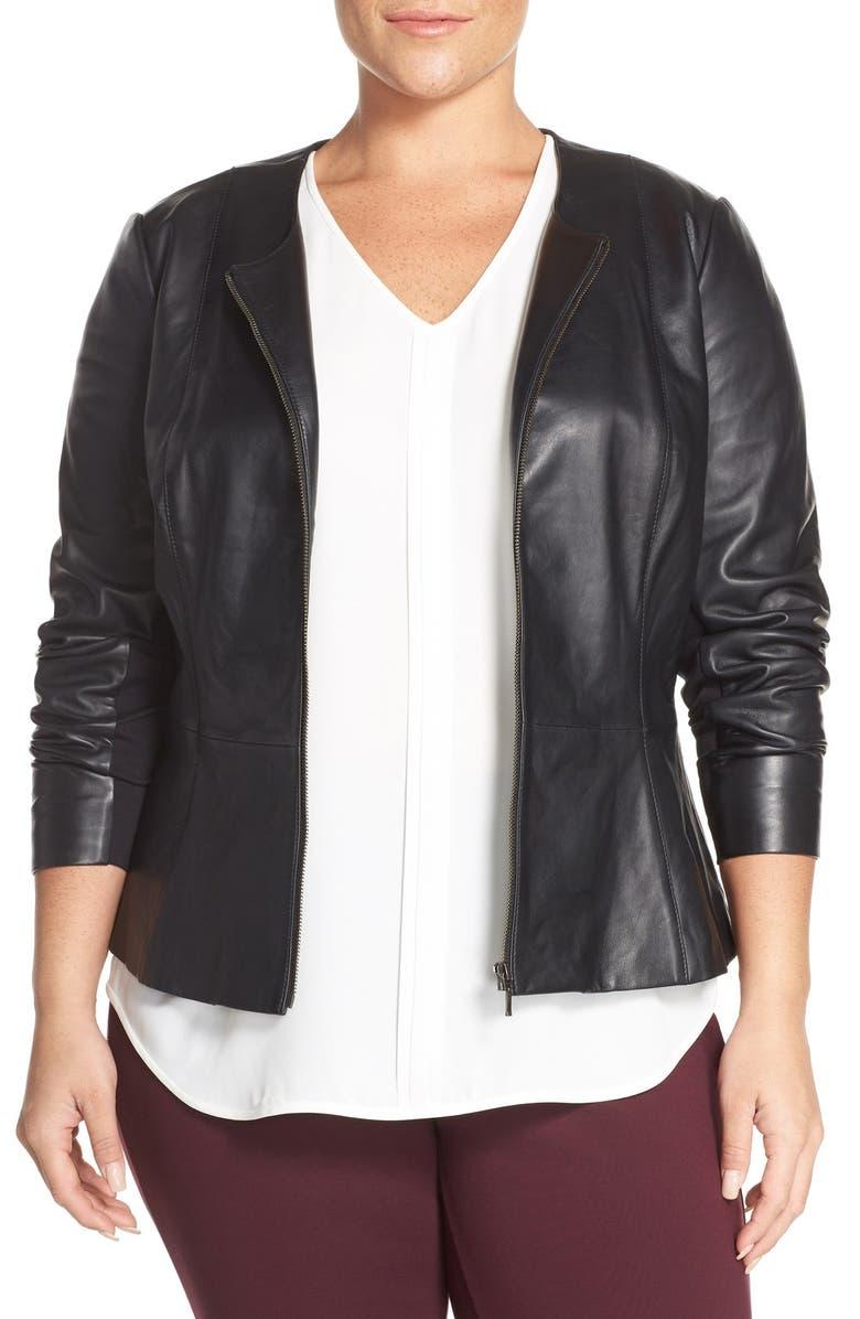 f31a2d76474 Sejour Leather Peplum Jacket (Plus Size)