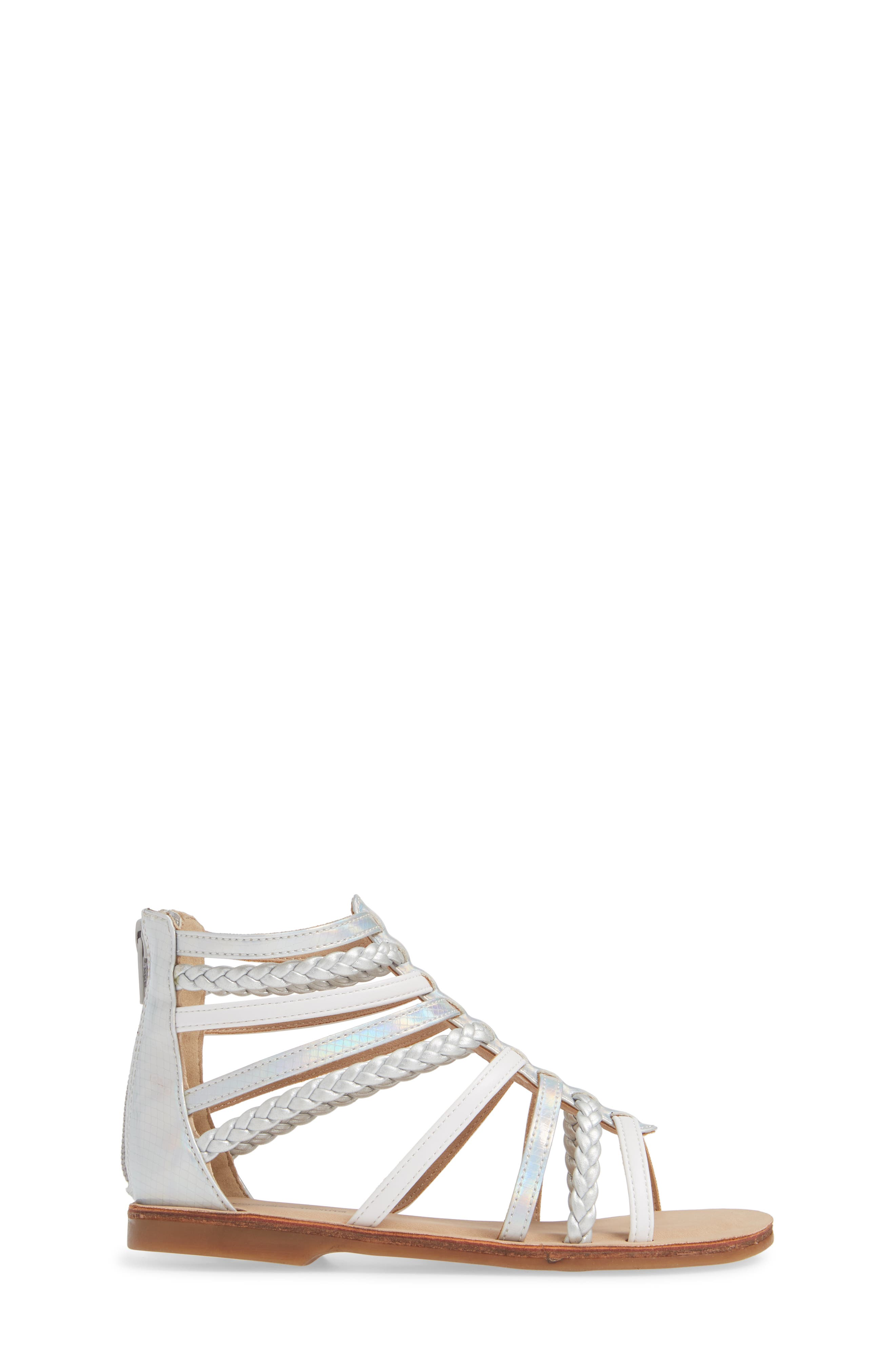 Sonja Braided Gladiator Sandal,                             Alternate thumbnail 3, color,                             WHITE/SILVER FAUX LEATHER