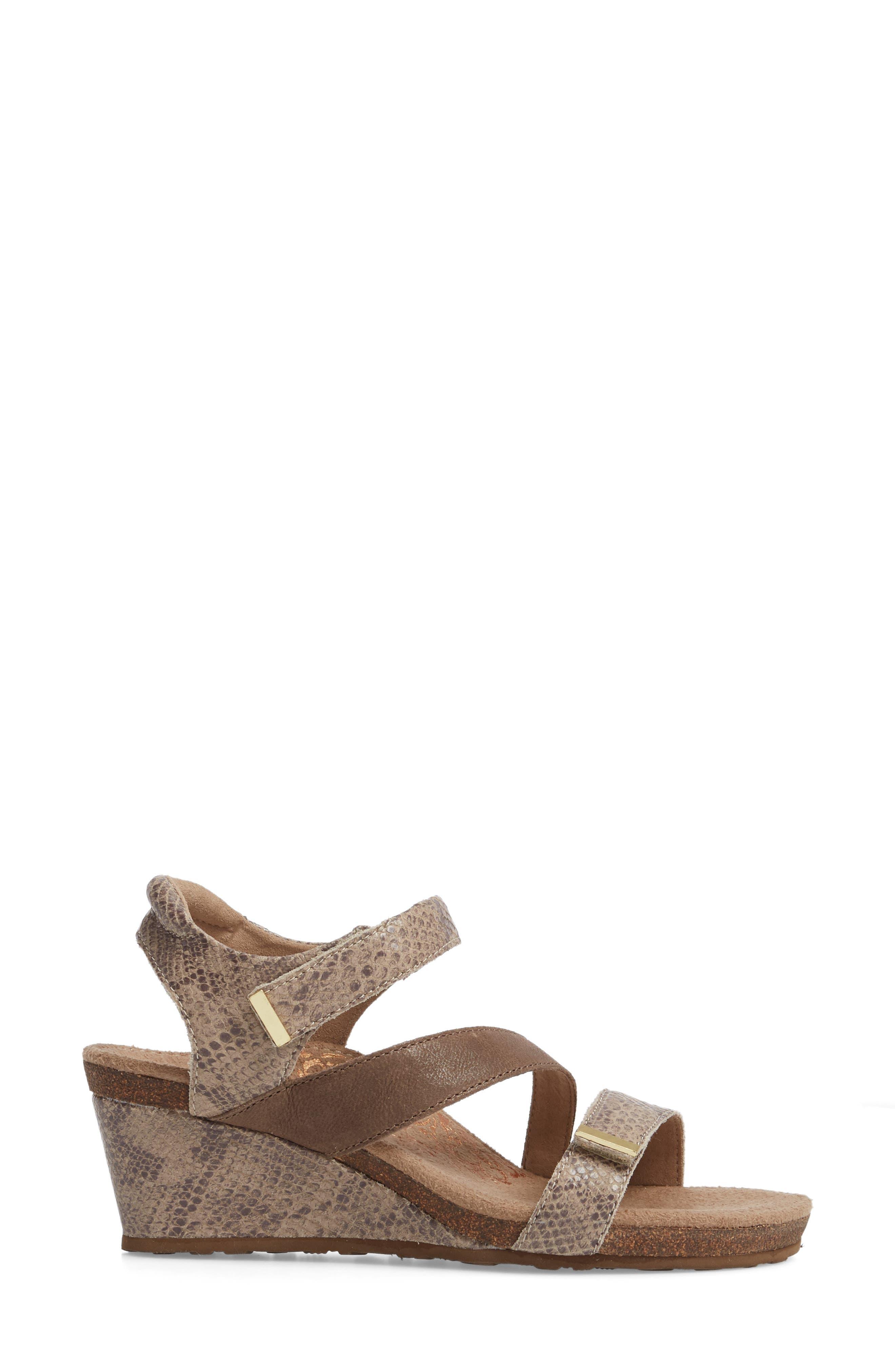 AETREX,                             Brynn Asymmetrical Wedge Sandal,                             Alternate thumbnail 3, color,                             STONE SNAKE LEATHER