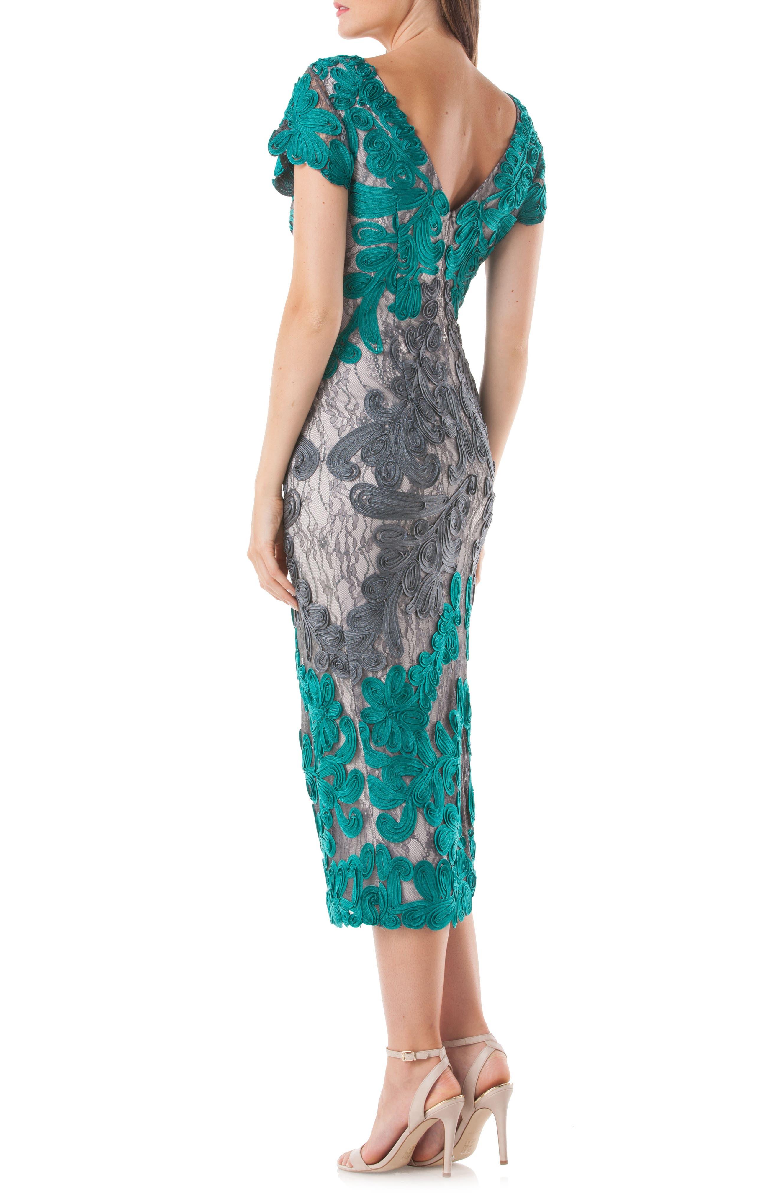 Soutache Lace Midi Dress,                             Alternate thumbnail 2, color,                             TEAL/ GREY