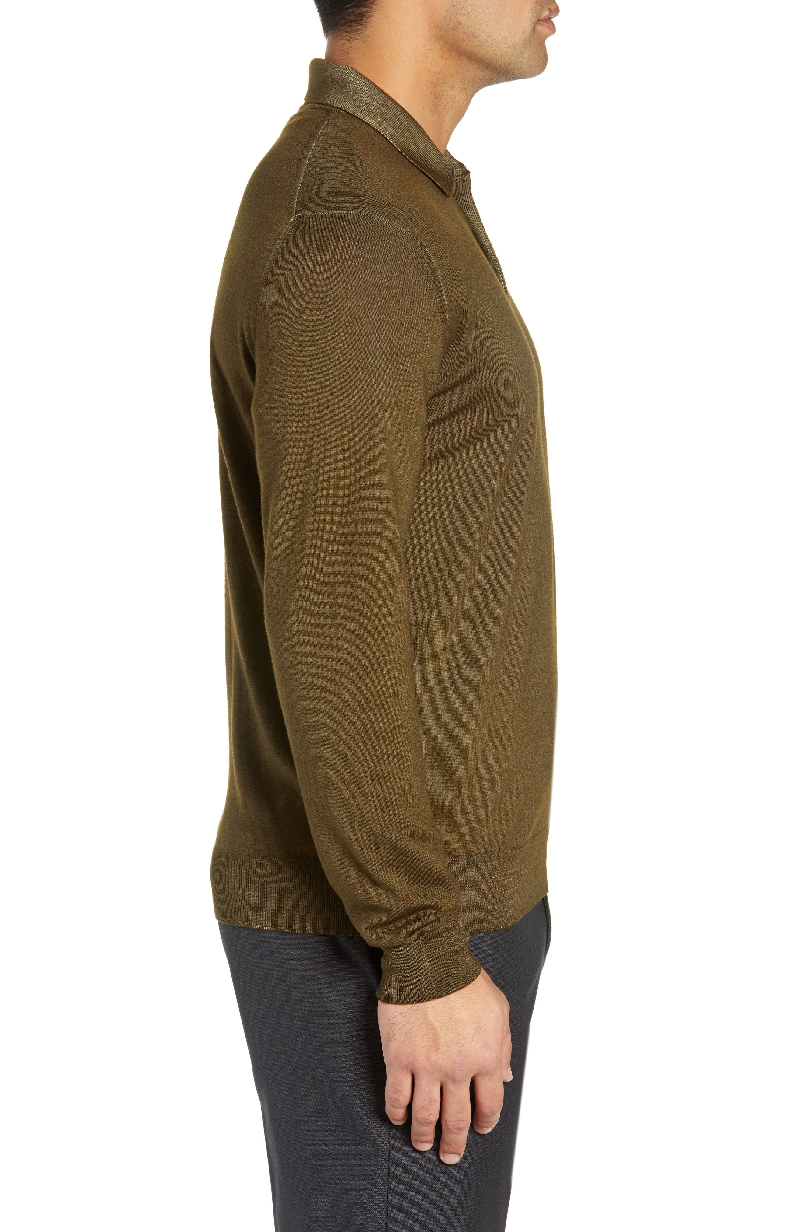 Dustin Wool Polo Sweater,                             Alternate thumbnail 3, color,                             GREEN