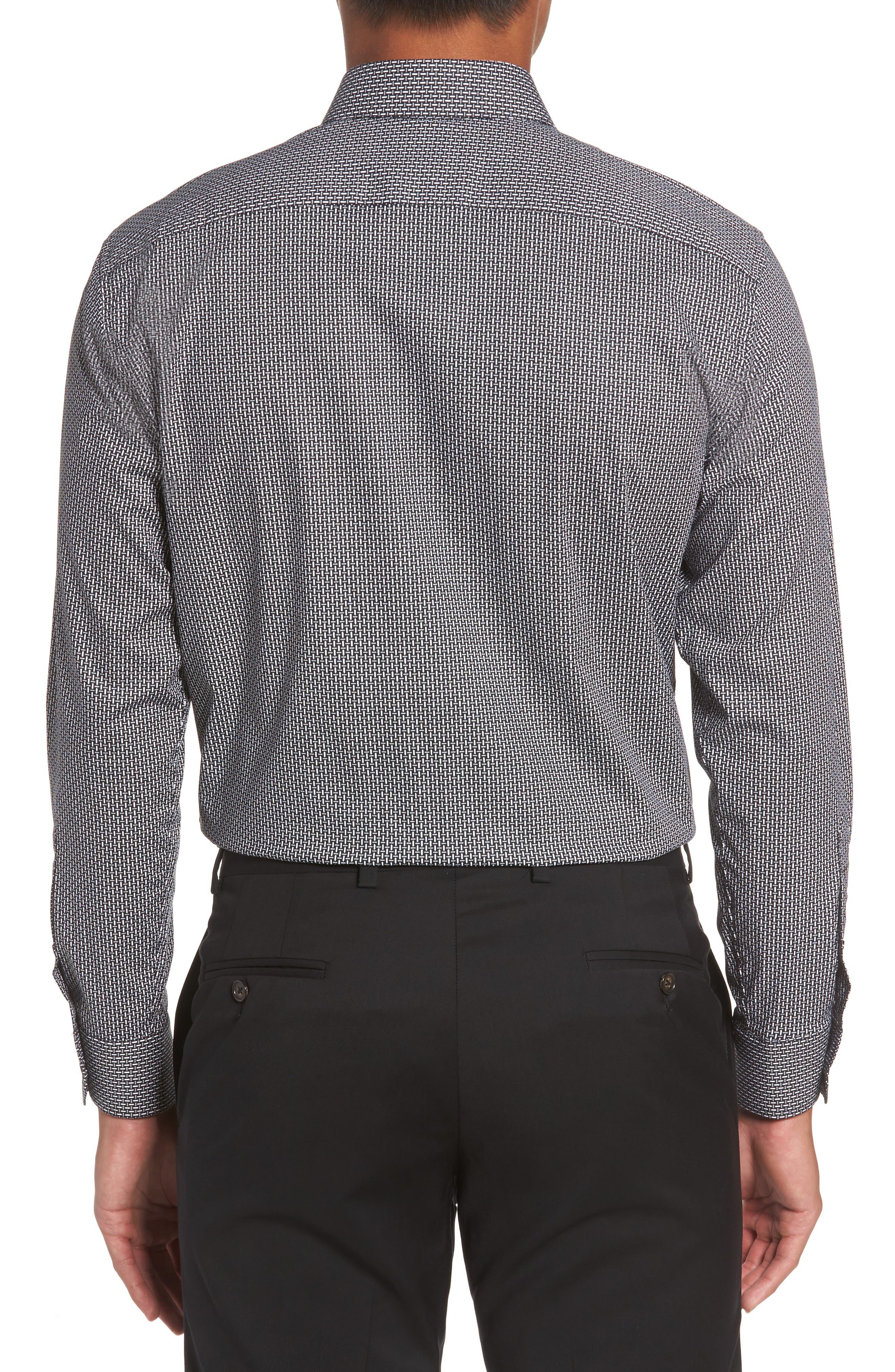 Trim Fit Non-Iron Graphic Stretch Dress Shirt,                             Alternate thumbnail 2, color,                             001