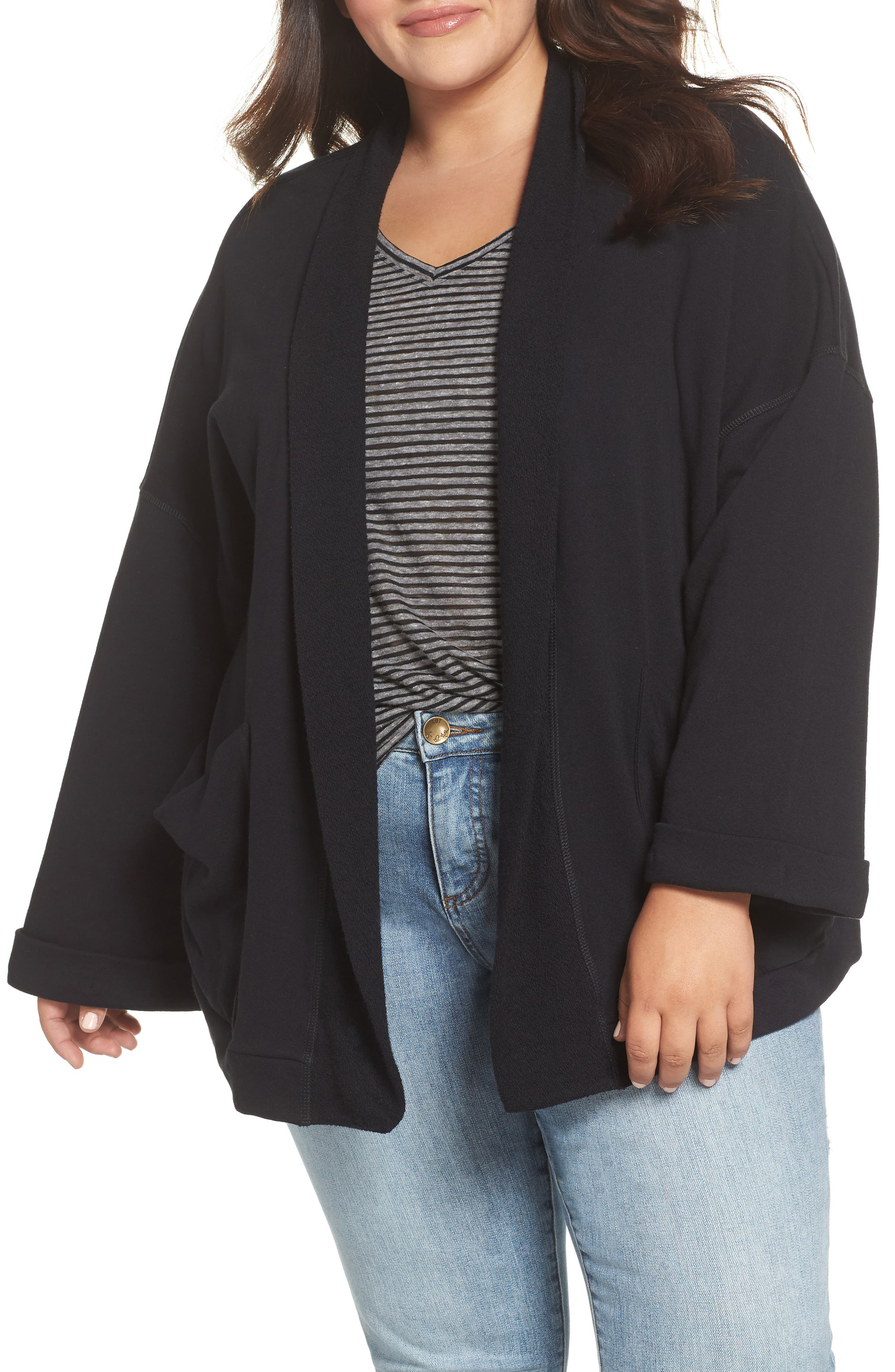 Knit Roll Sleeve Blazer,                             Main thumbnail 1, color,                             BLACK