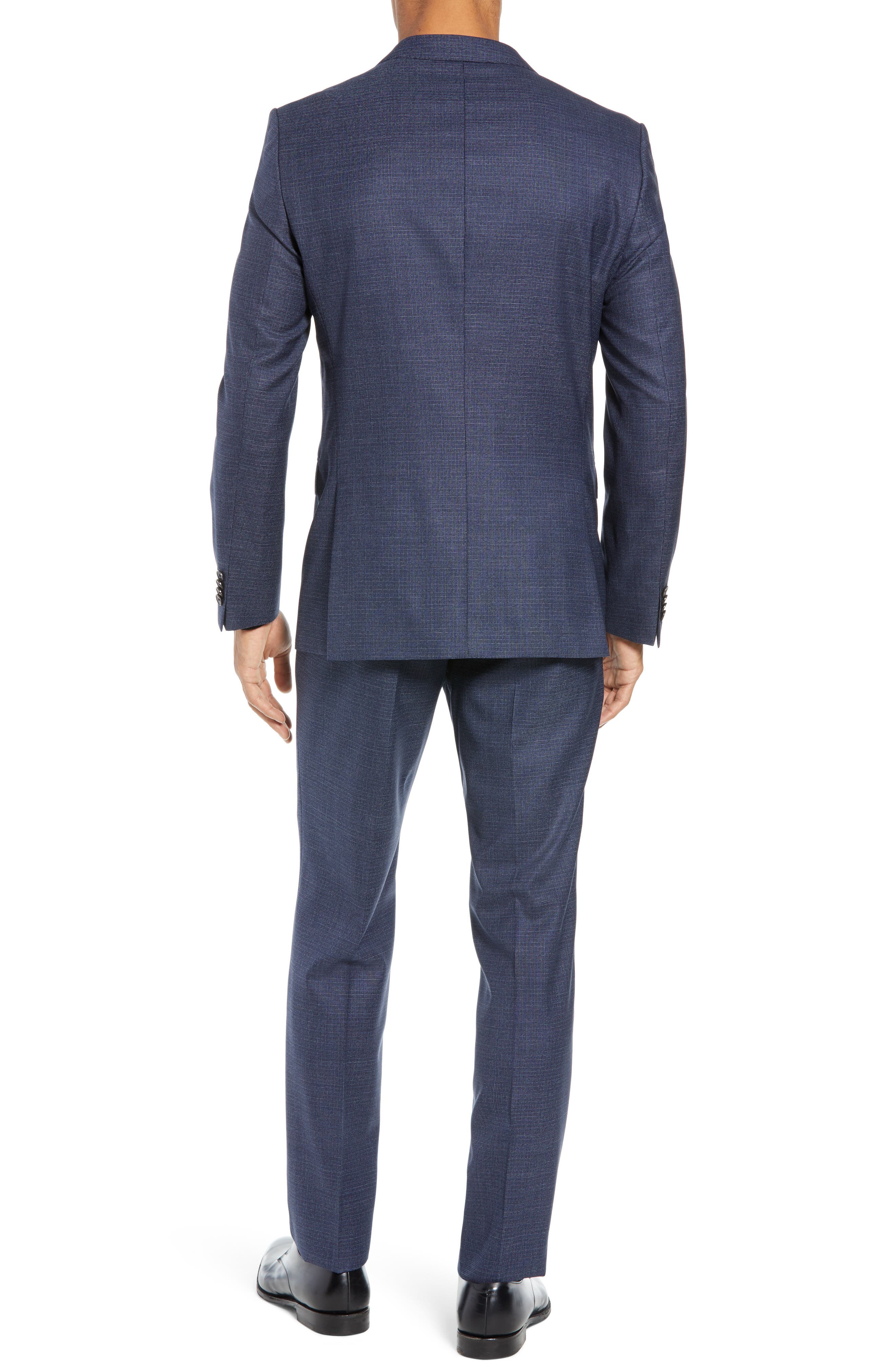 Novan/Ben Trim Fit Check Wool Suit,                             Alternate thumbnail 2, color,                             DARK BLUE
