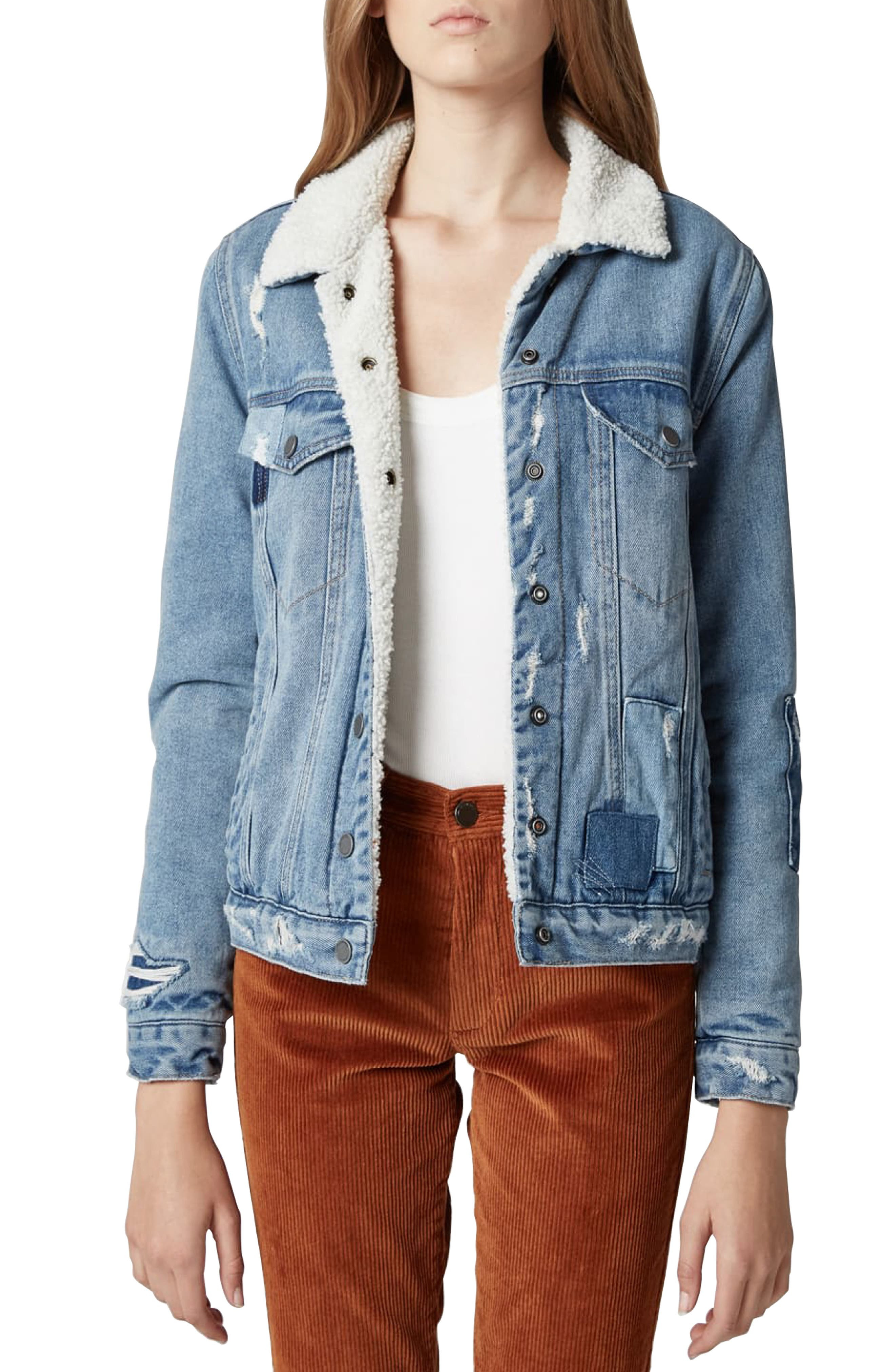 Faux Shearling Trim Patched Denim Jacket in Ice Road Trucker