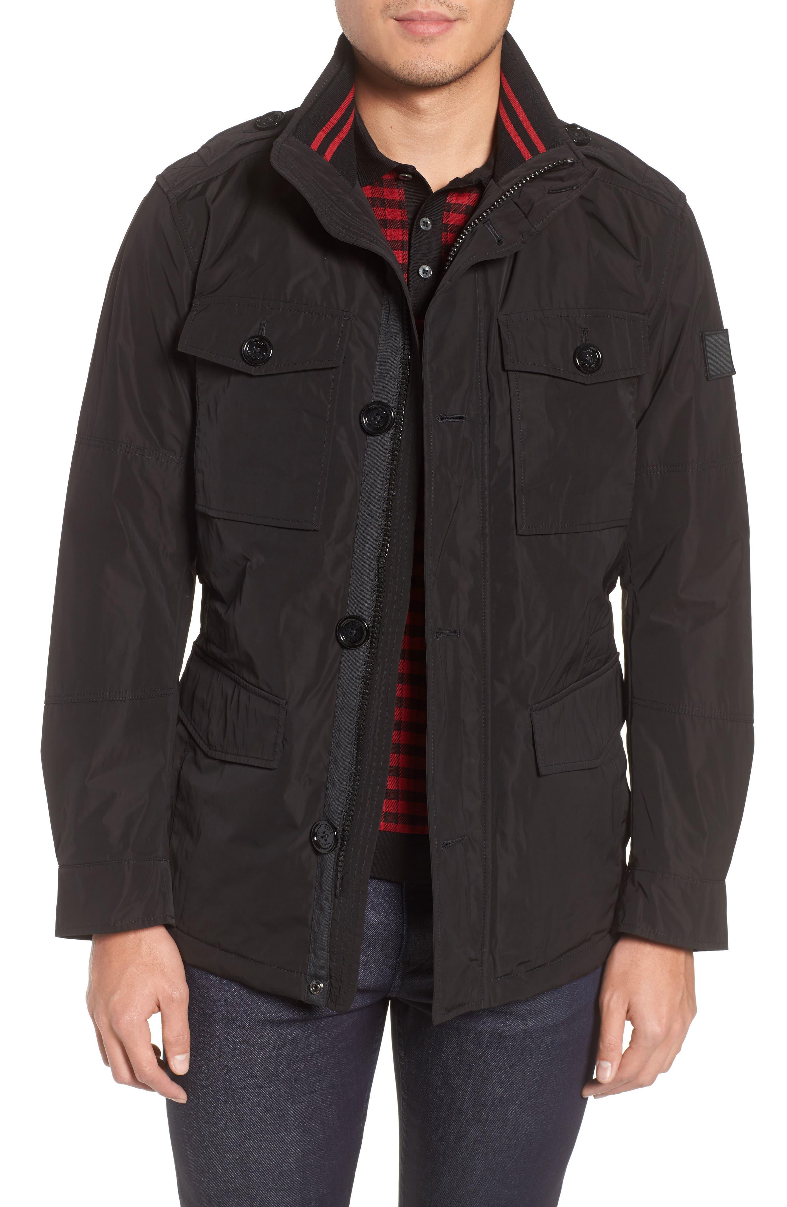 BOSS,                             Camino Regular Fit Field Jacket,                             Main thumbnail 1, color,                             001