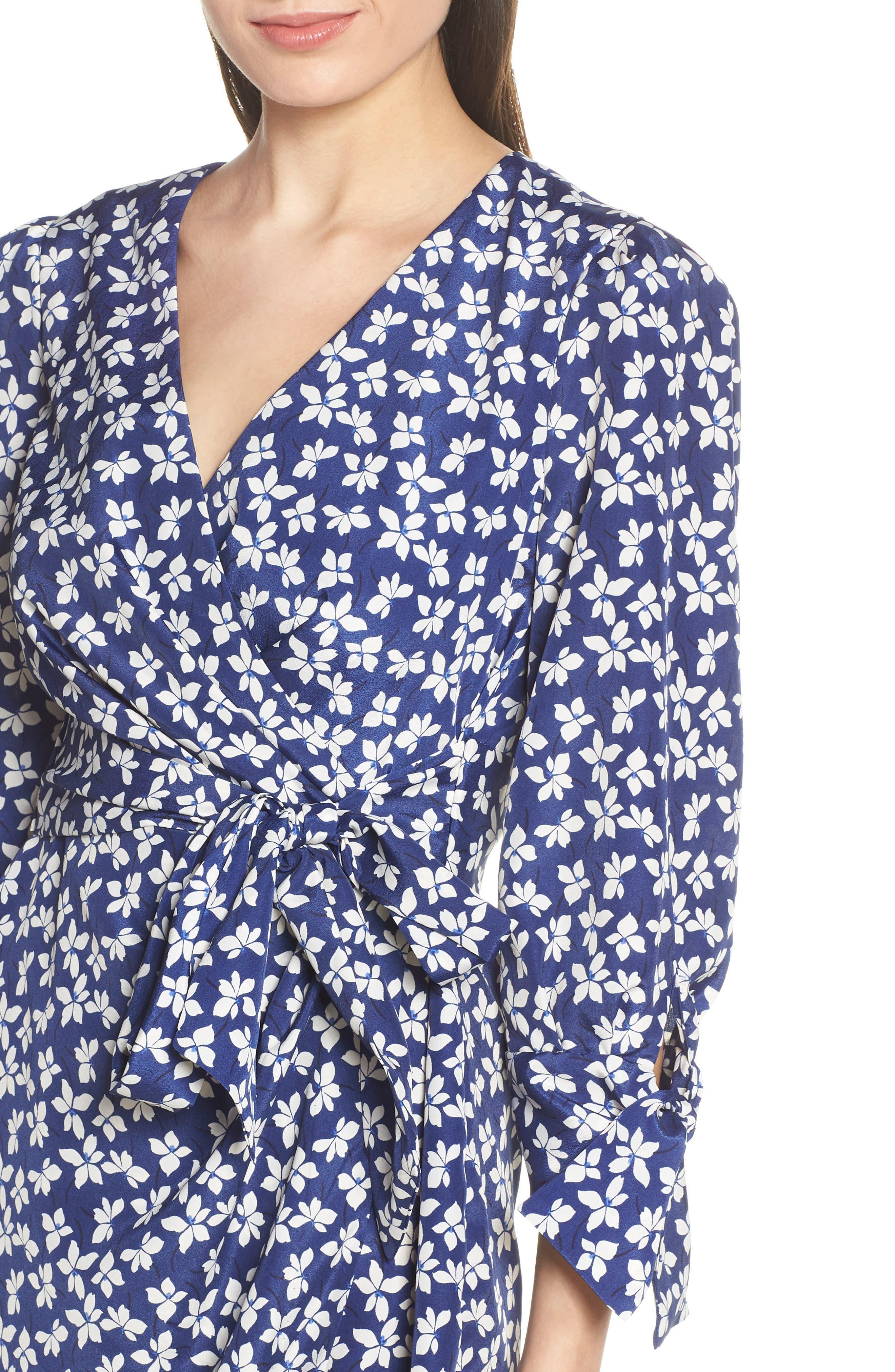 CHELSEA28,                             Floral Print Faux Wrap Dress,                             Alternate thumbnail 5, color,                             NAVY