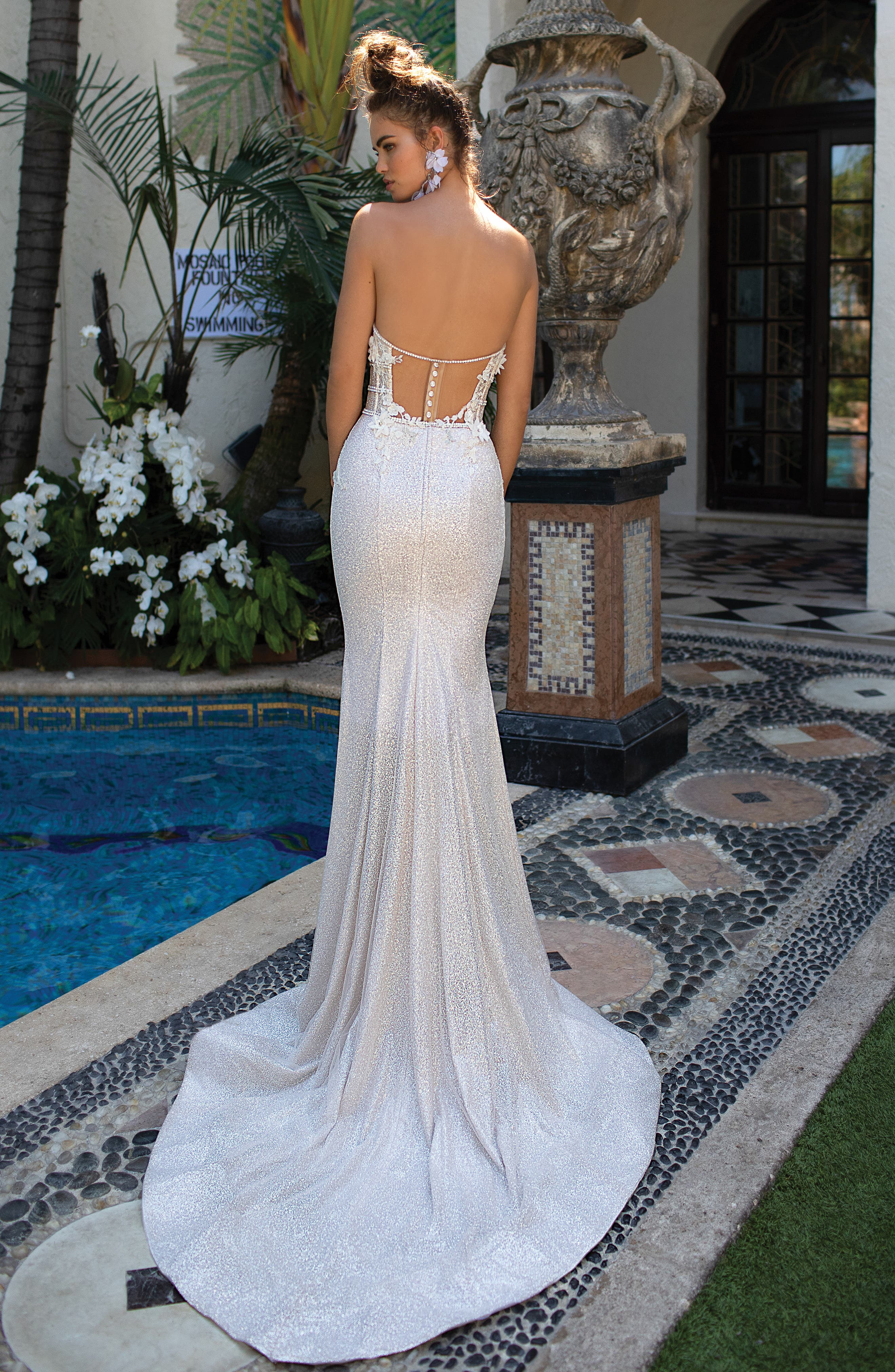 Embellished Strapless Mermaid Gown,                             Alternate thumbnail 2, color,                             IVORY